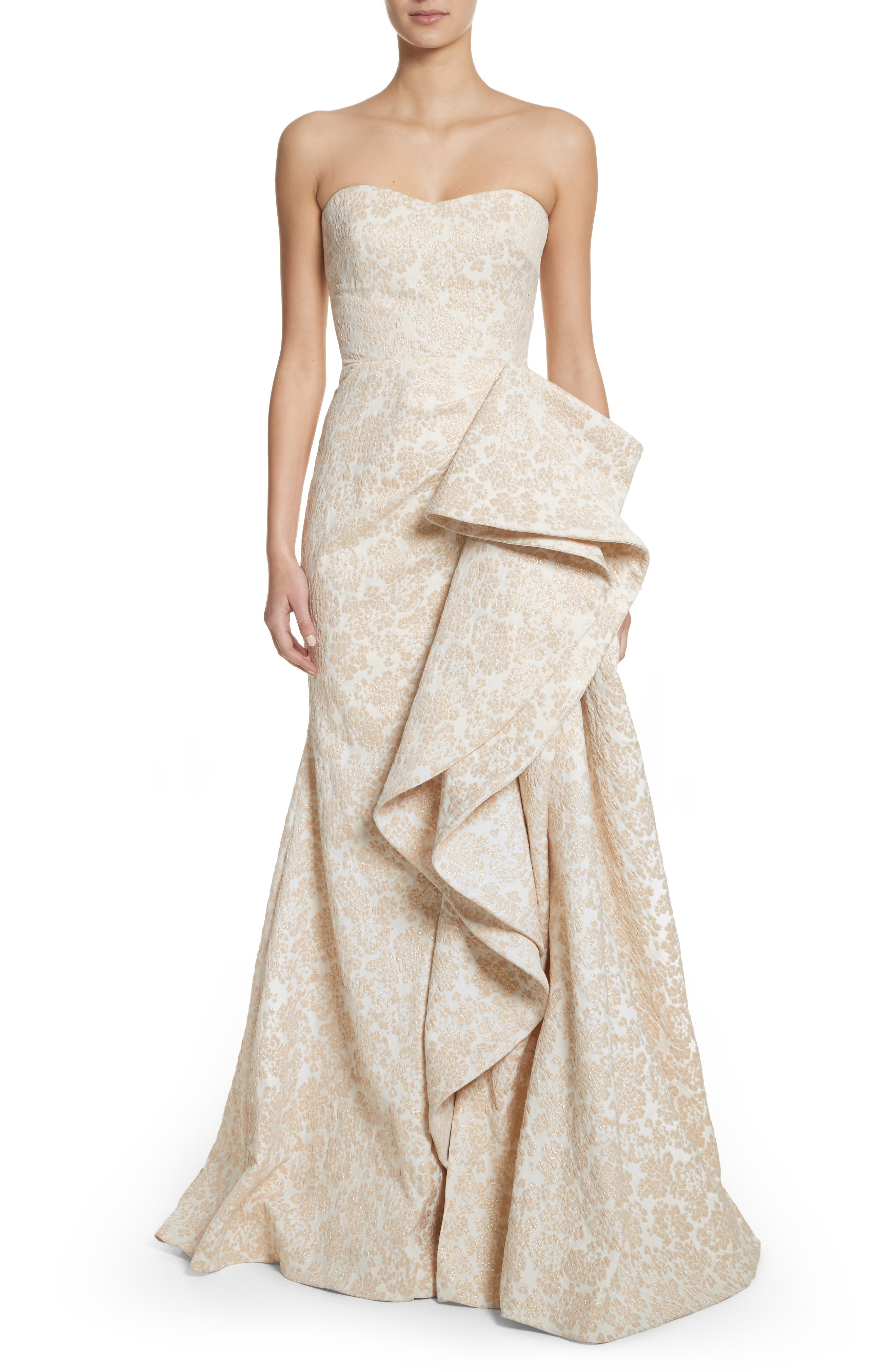 Badgley Mischka Platinum Sculptural Ruffle Gown