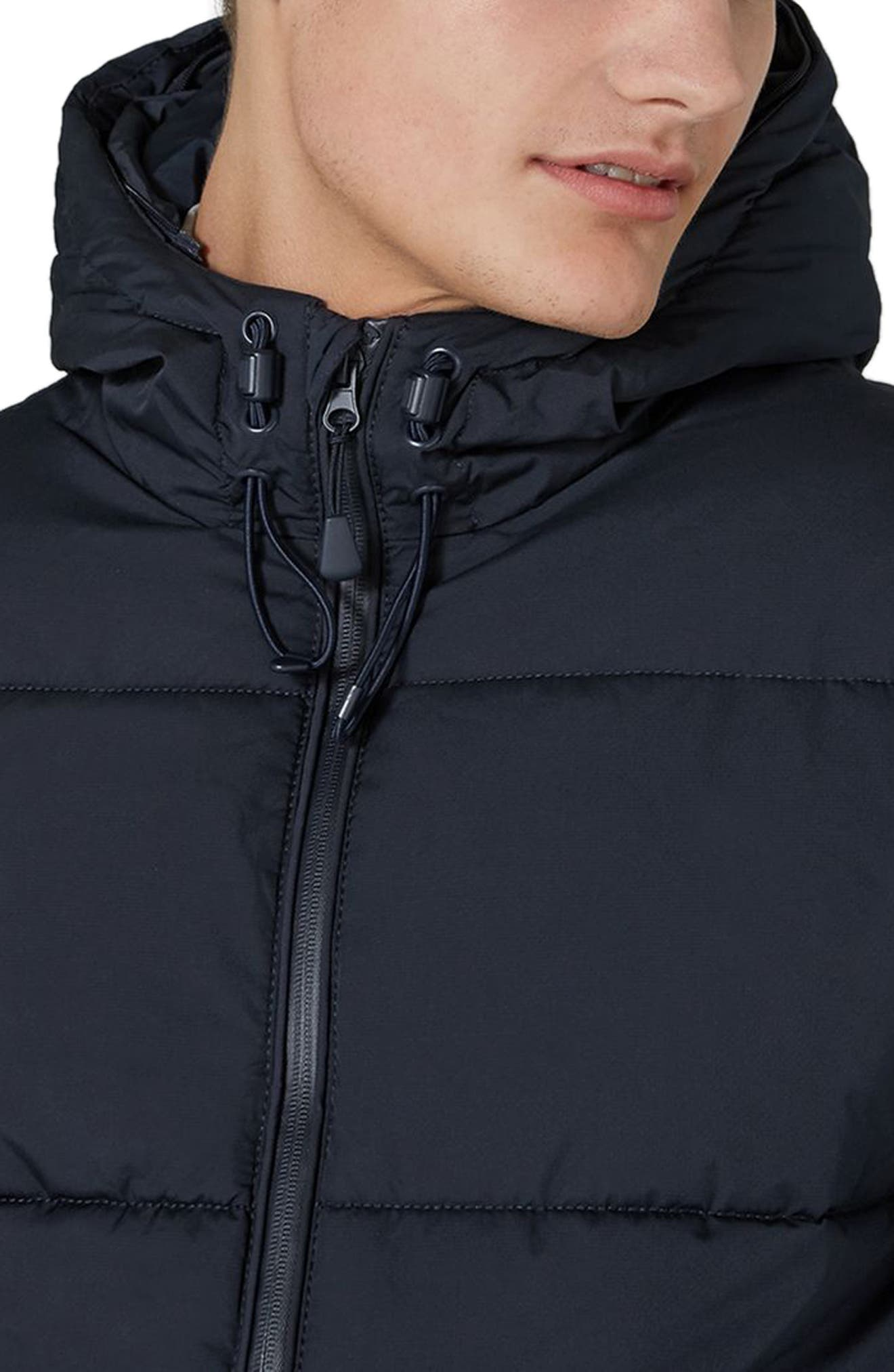Maguire Hooded Puffer Coat with Faux Fur Trim,                             Alternate thumbnail 3, color,                             Navy Blue