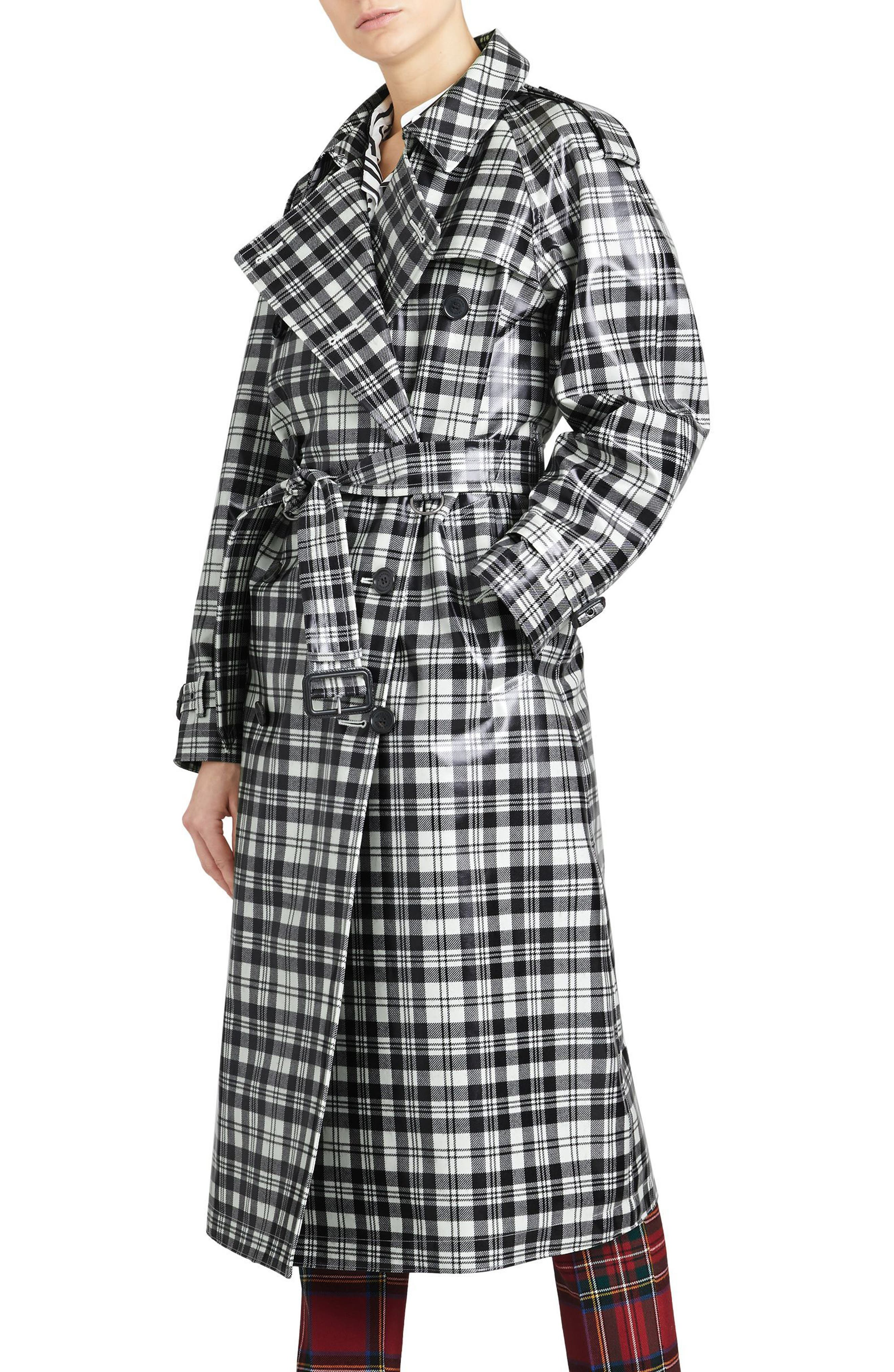 Eastheath Plaid Coated Wool Trench Coat,                             Alternate thumbnail 3, color,                             Black/ White