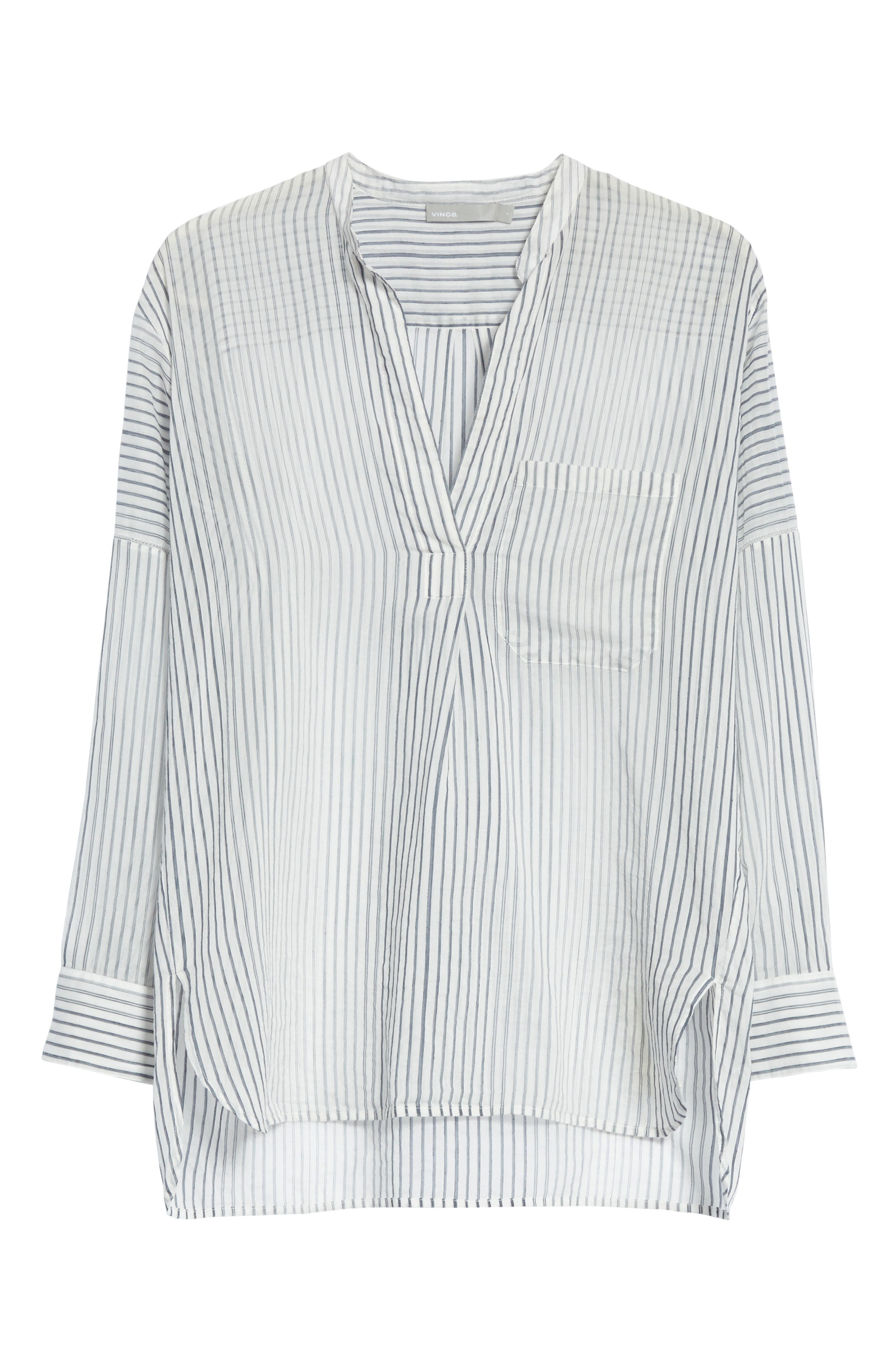 Pencil Stripe Cotton & Silk Tunic,                             Alternate thumbnail 6, color,                             Coastal