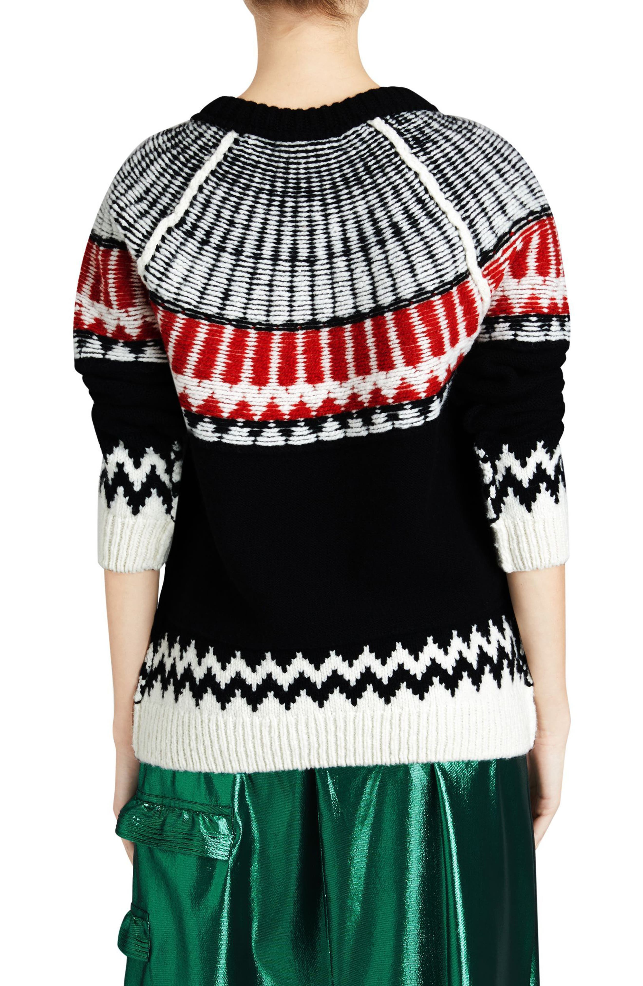 Trycroft Fair Isle Wool Blend Sweater,                             Alternate thumbnail 2, color,                             Black/ Military Red