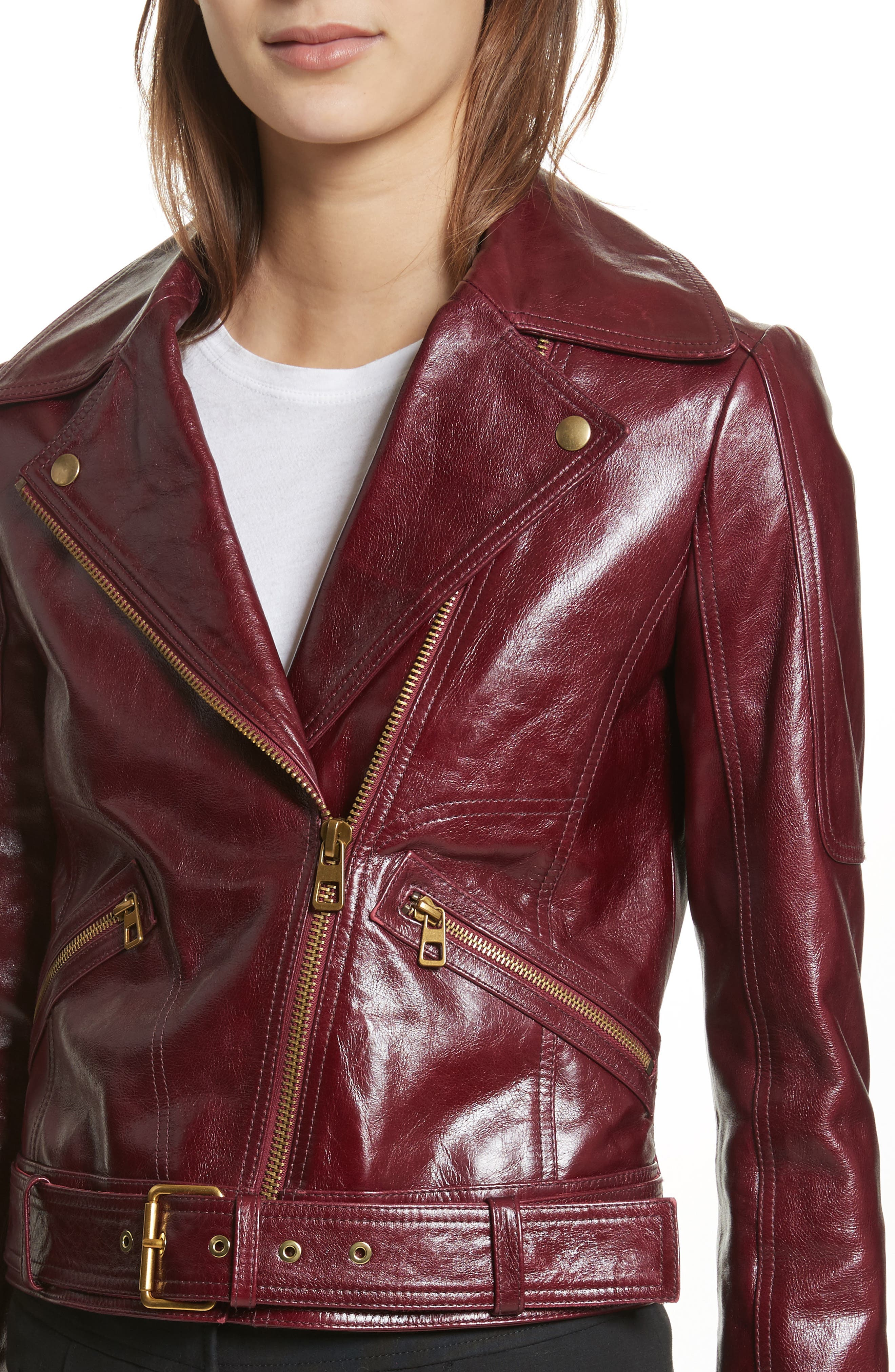 Bianca Leather Moto Jacket,                             Alternate thumbnail 4, color,                             Red
