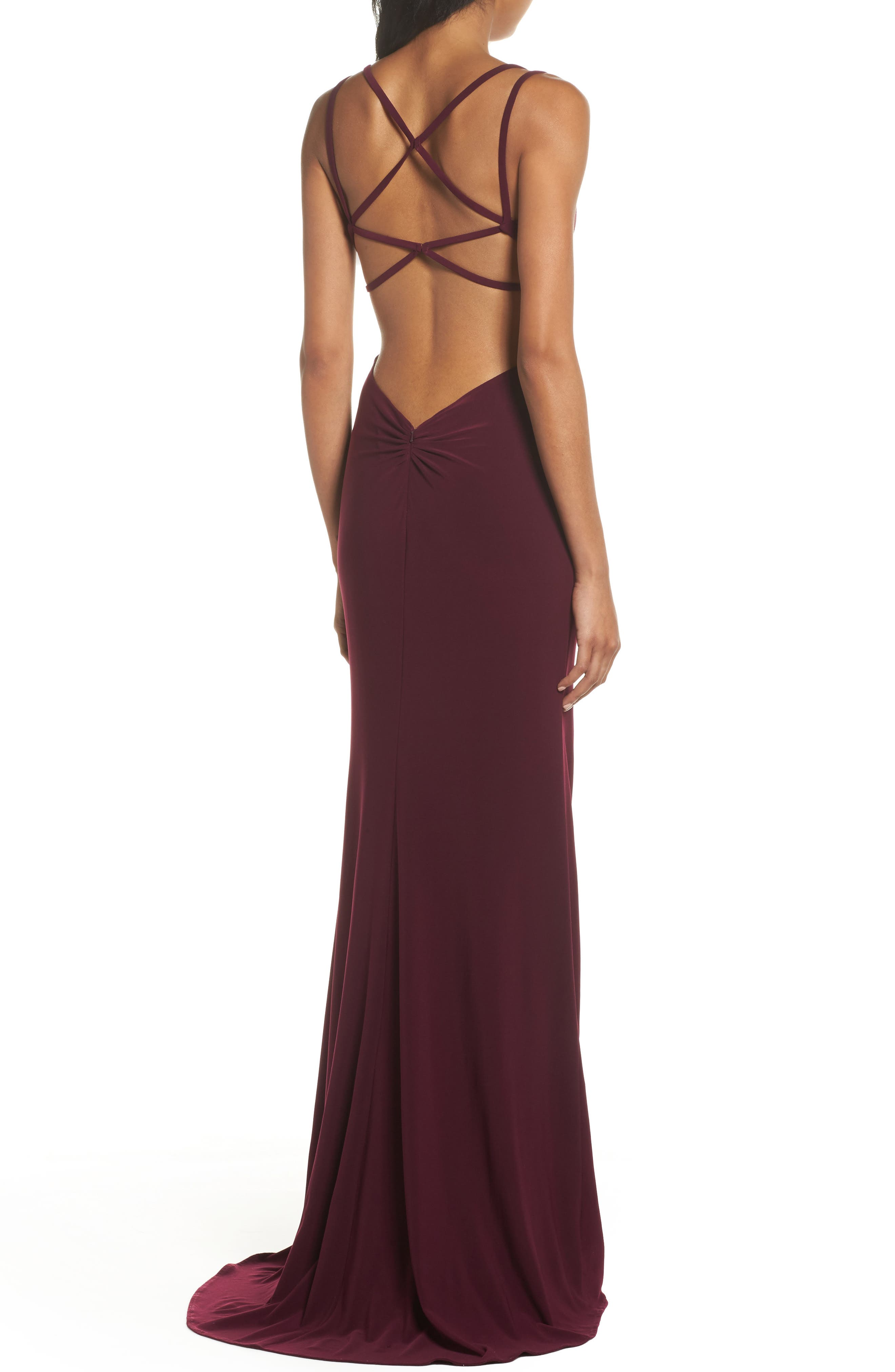 Alternate Image 2  - La Femme Open Back Jersey Gown