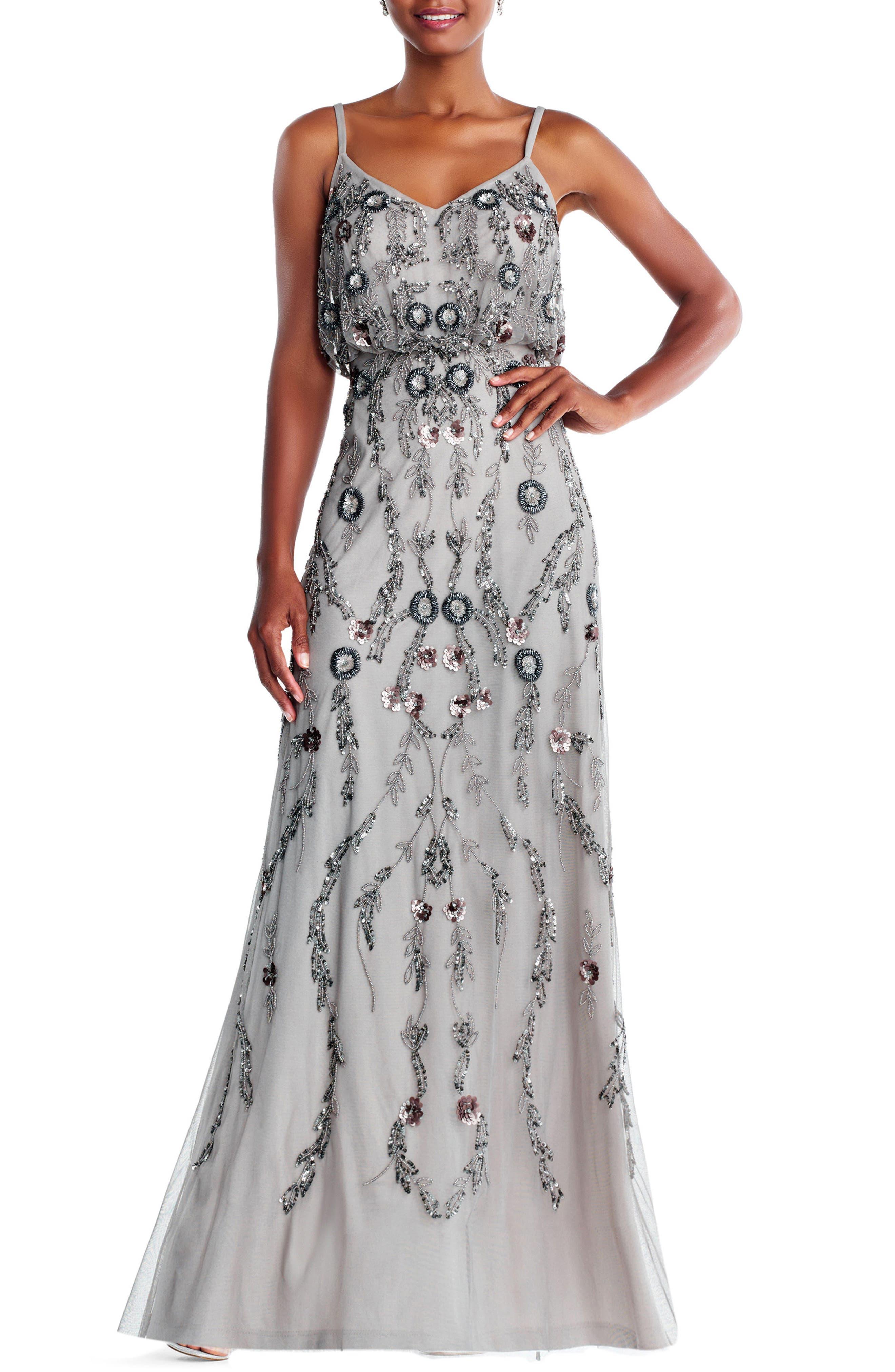 Mesh Blouson Gown,                         Main,                         color, Platinum Multi