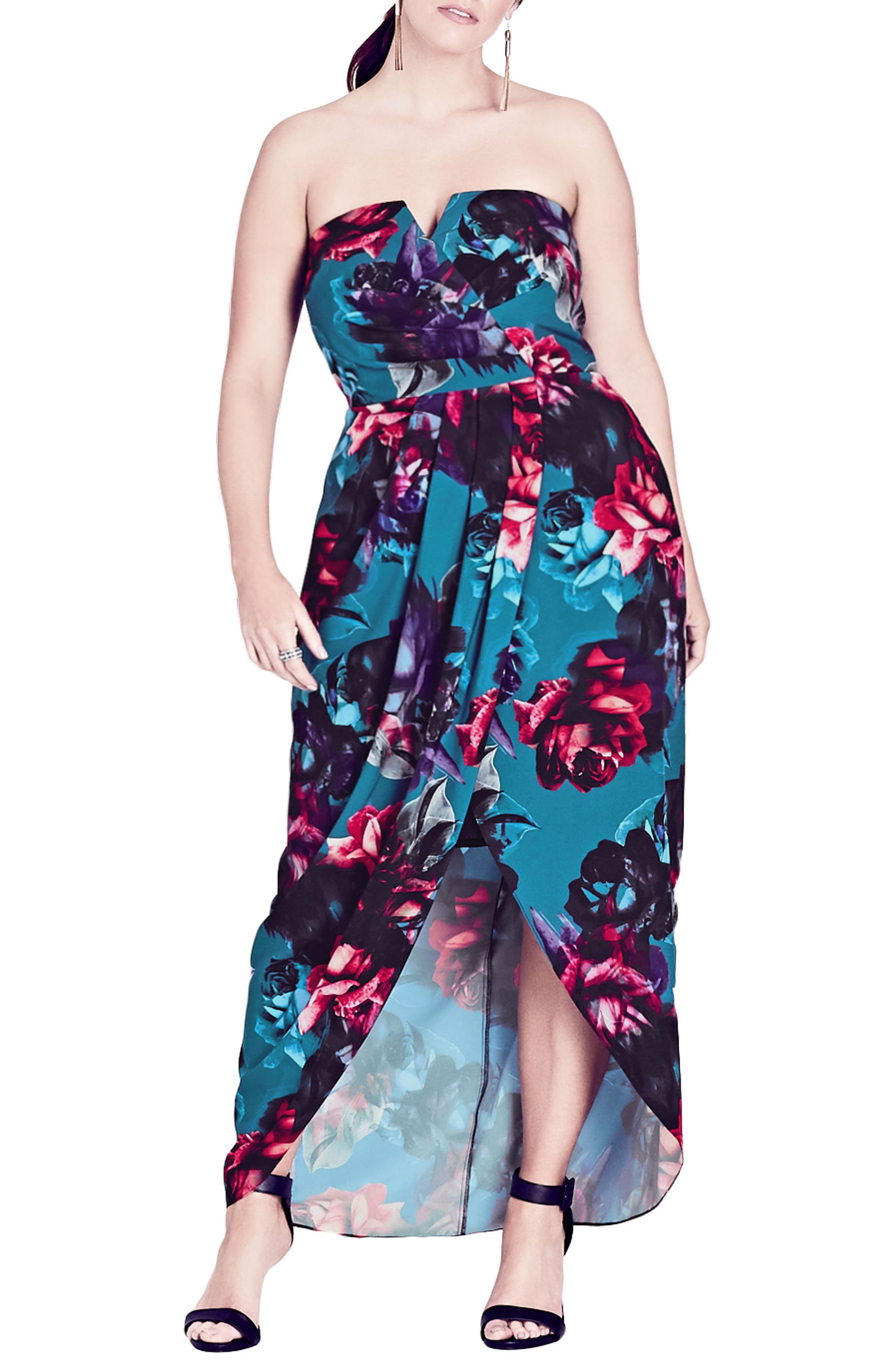 Alternate Image 1 Selected - City Chic Jewel Floral Maxi Dress (Plus Size)