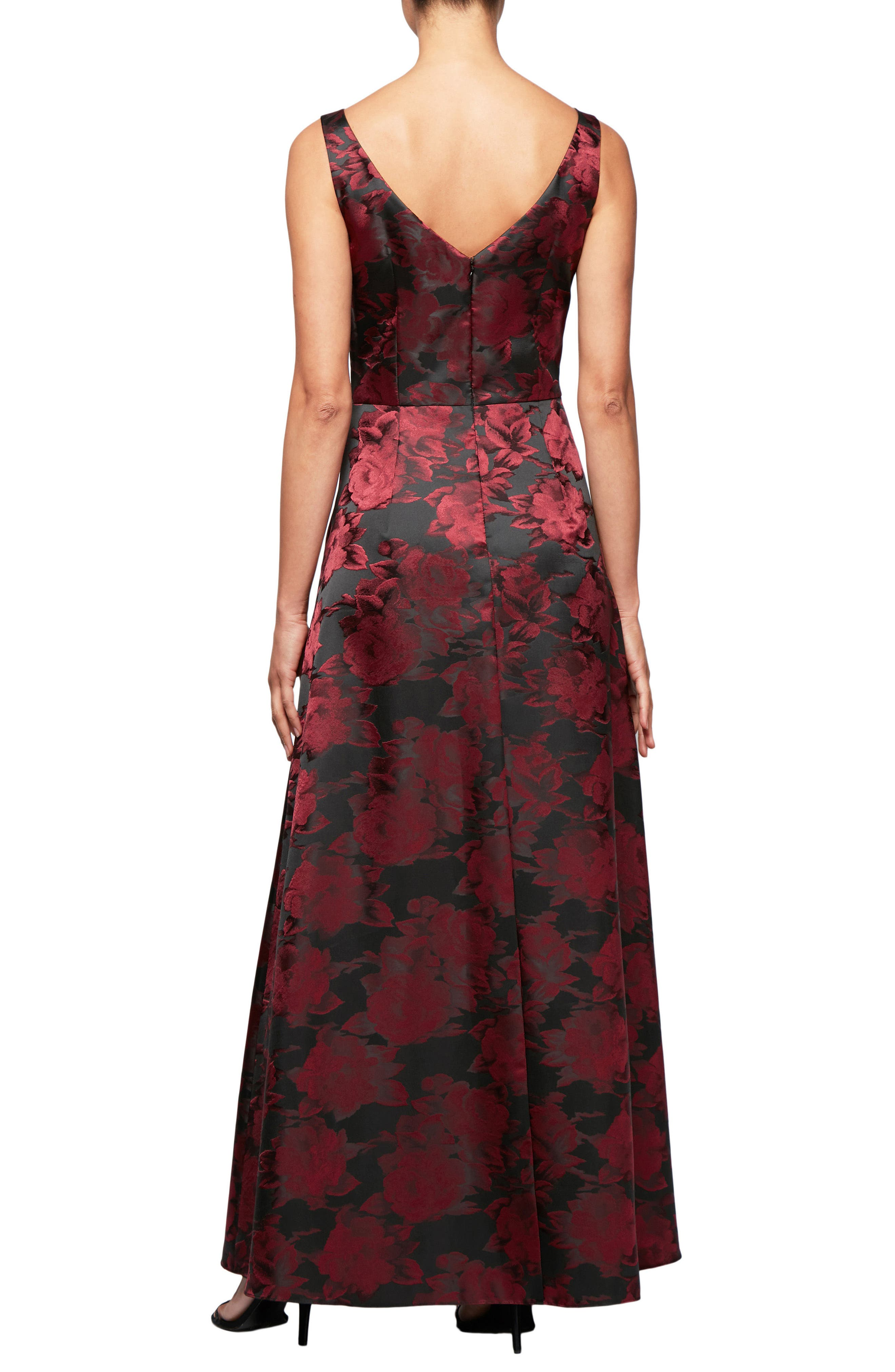 Floral Print A-Line Gown,                             Alternate thumbnail 2, color,                             Black/ Wine