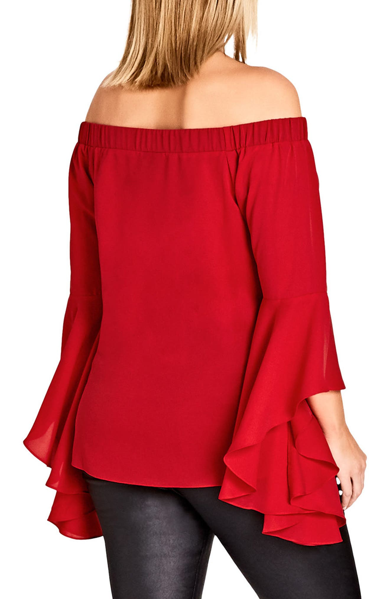 Alternate Image 2  - City Chic Romantic Off the Shoulder Bell Sleeve Top (Plus Size)