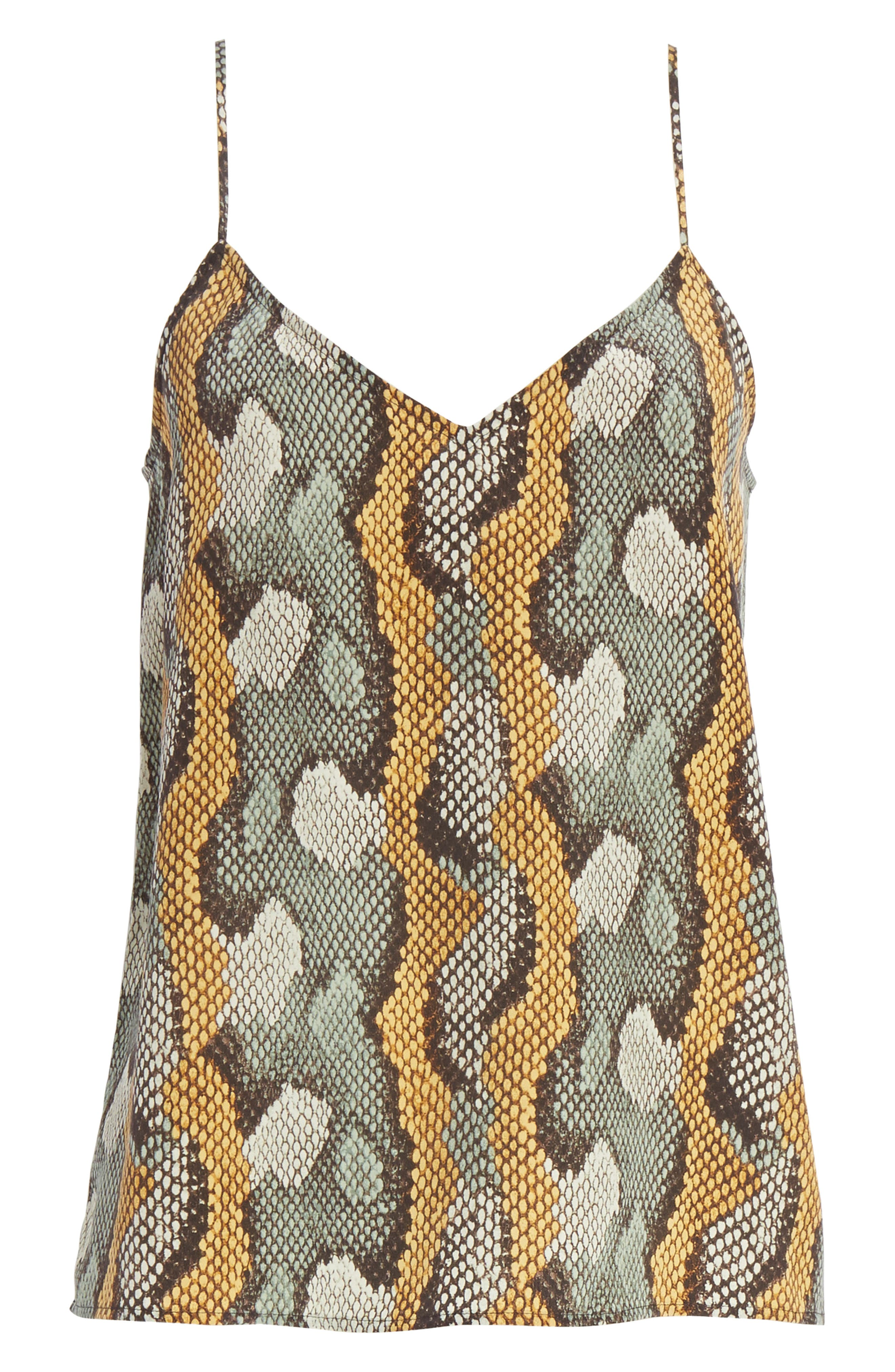 Layla Print Silk Camisole,                             Alternate thumbnail 6, color,                             Olive Branch Multi