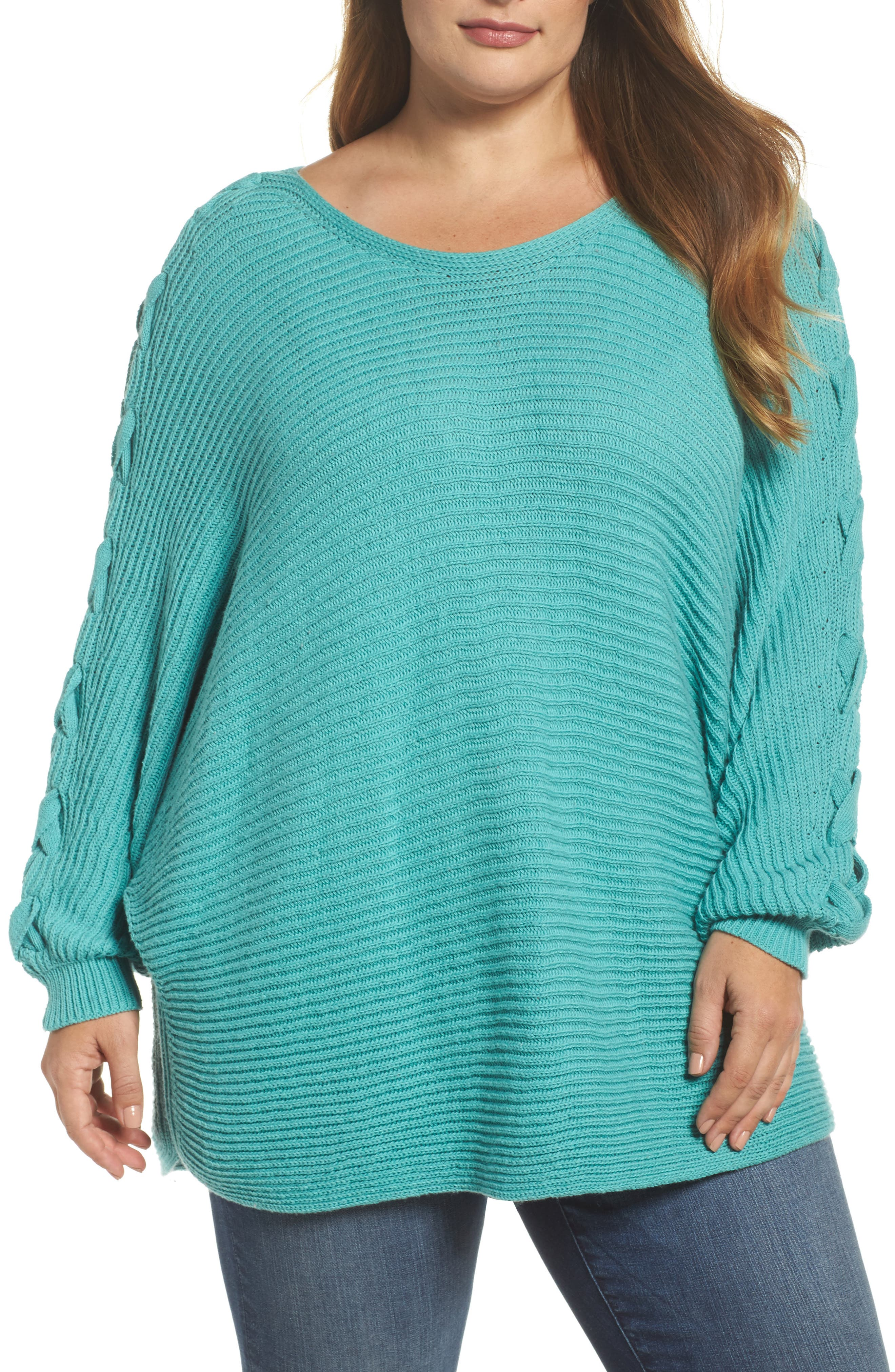 Lace-Up Sleeve Sweater,                             Main thumbnail 1, color,                             Green Agate