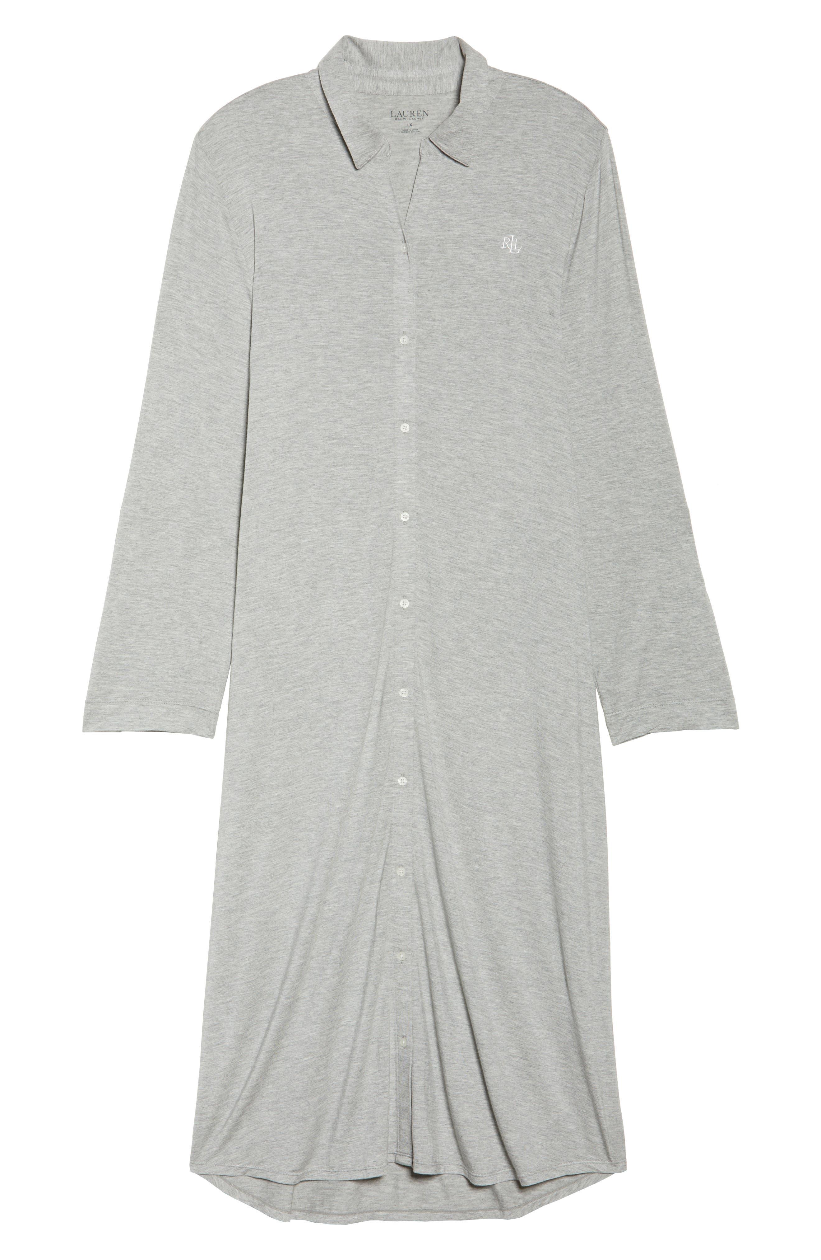 Long Night Shirt,                             Alternate thumbnail 4, color,                             Heather Grey Feeder Stripe