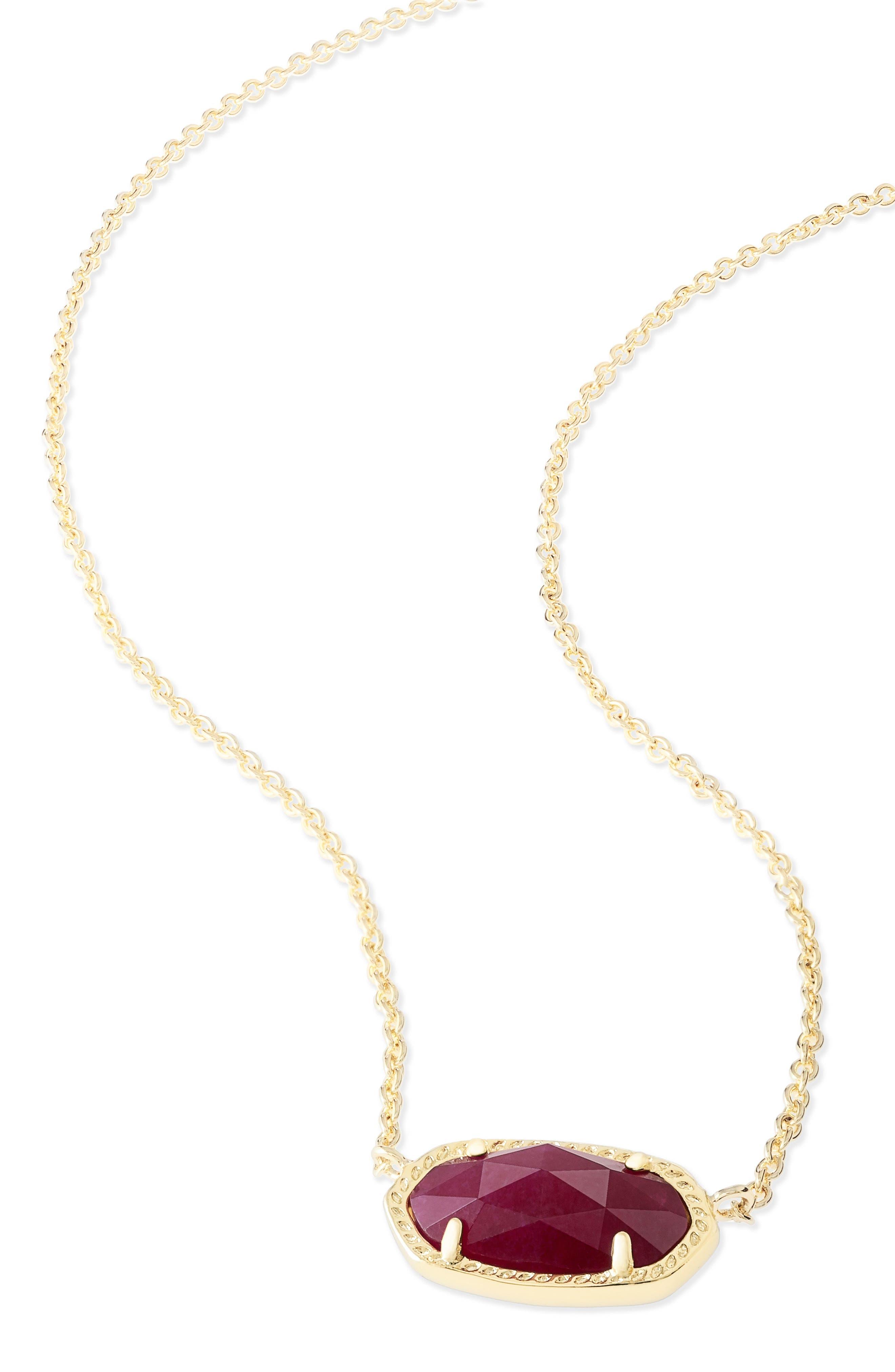 Elisa Pendant Necklace,                             Alternate thumbnail 3, color,                             Maroon Jade/ Gold