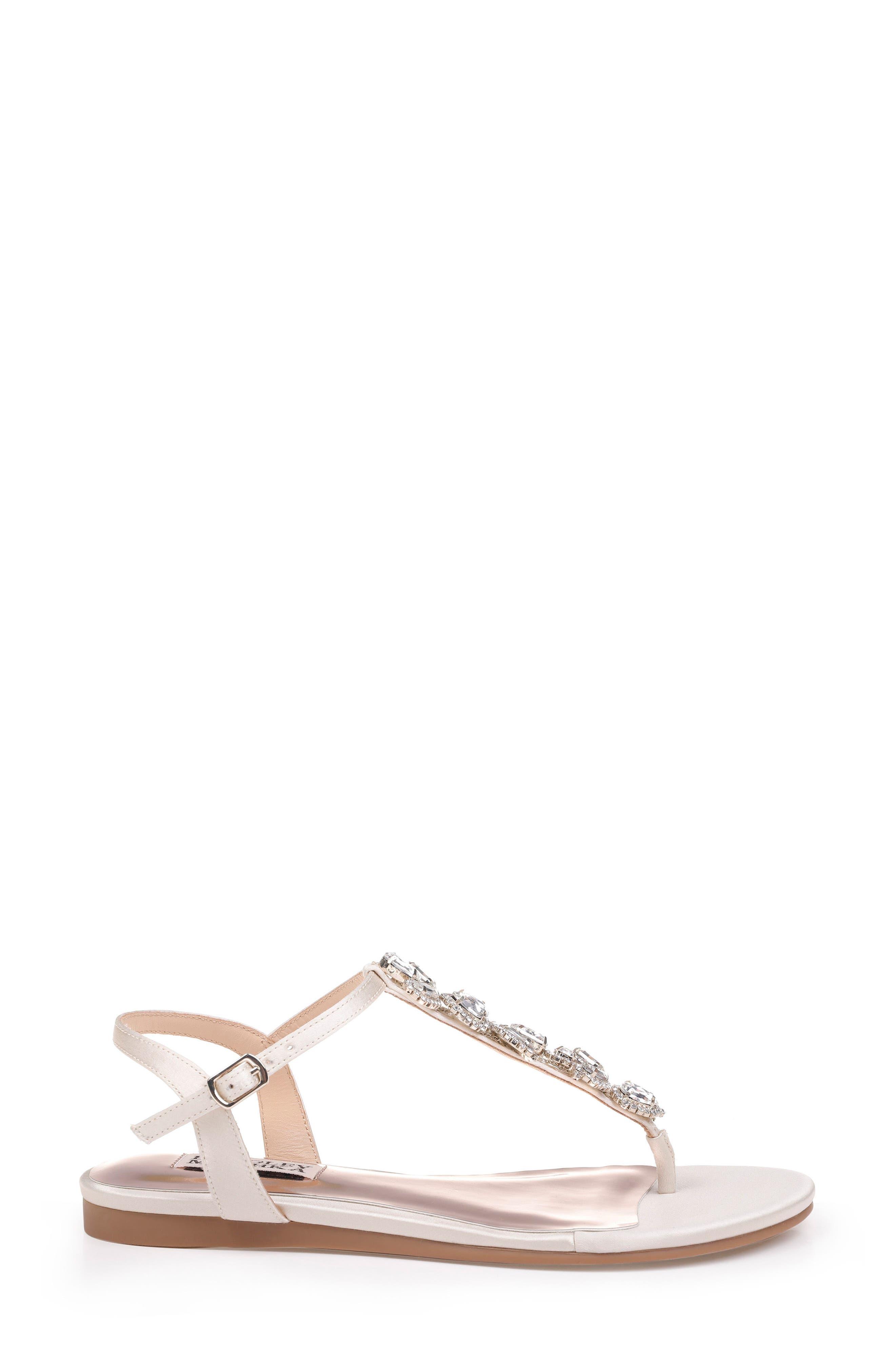 Sissi Crystal Embellished Sandal,                             Alternate thumbnail 3, color,                             Ivory Satin