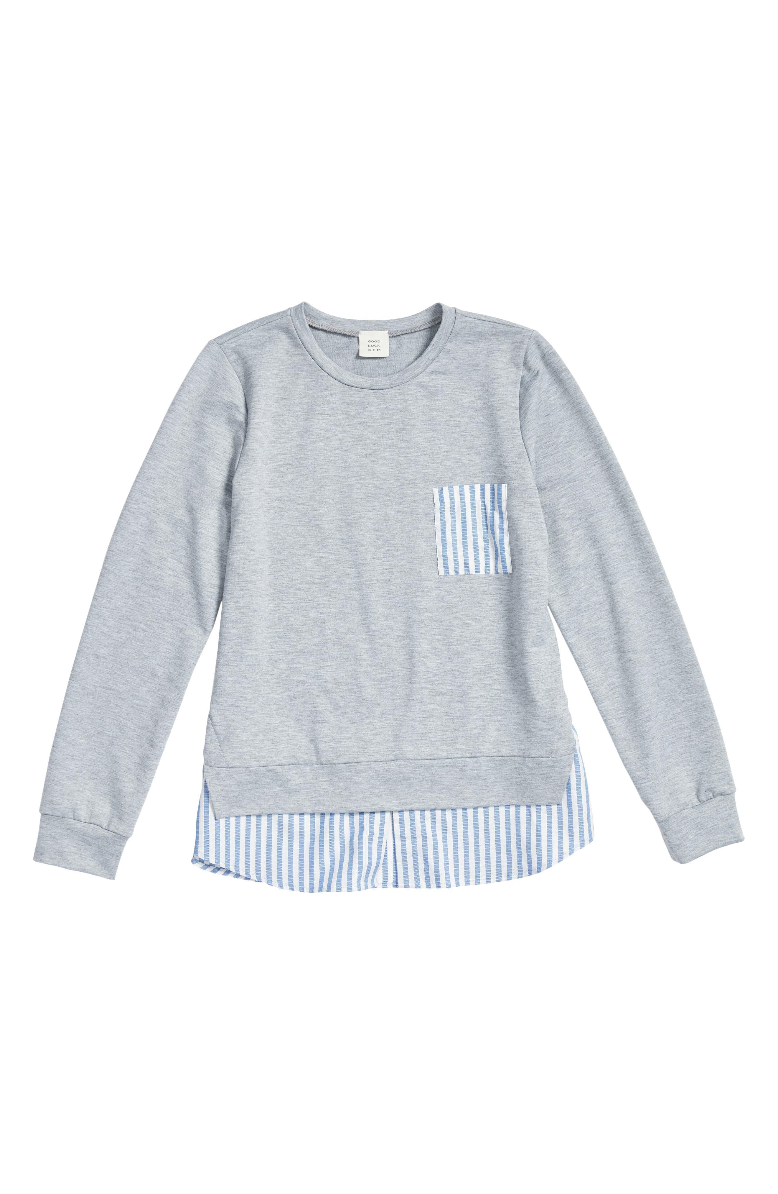 Main Image - Good Luck Gem Mixed Media Sweatshirt (Big Girls)