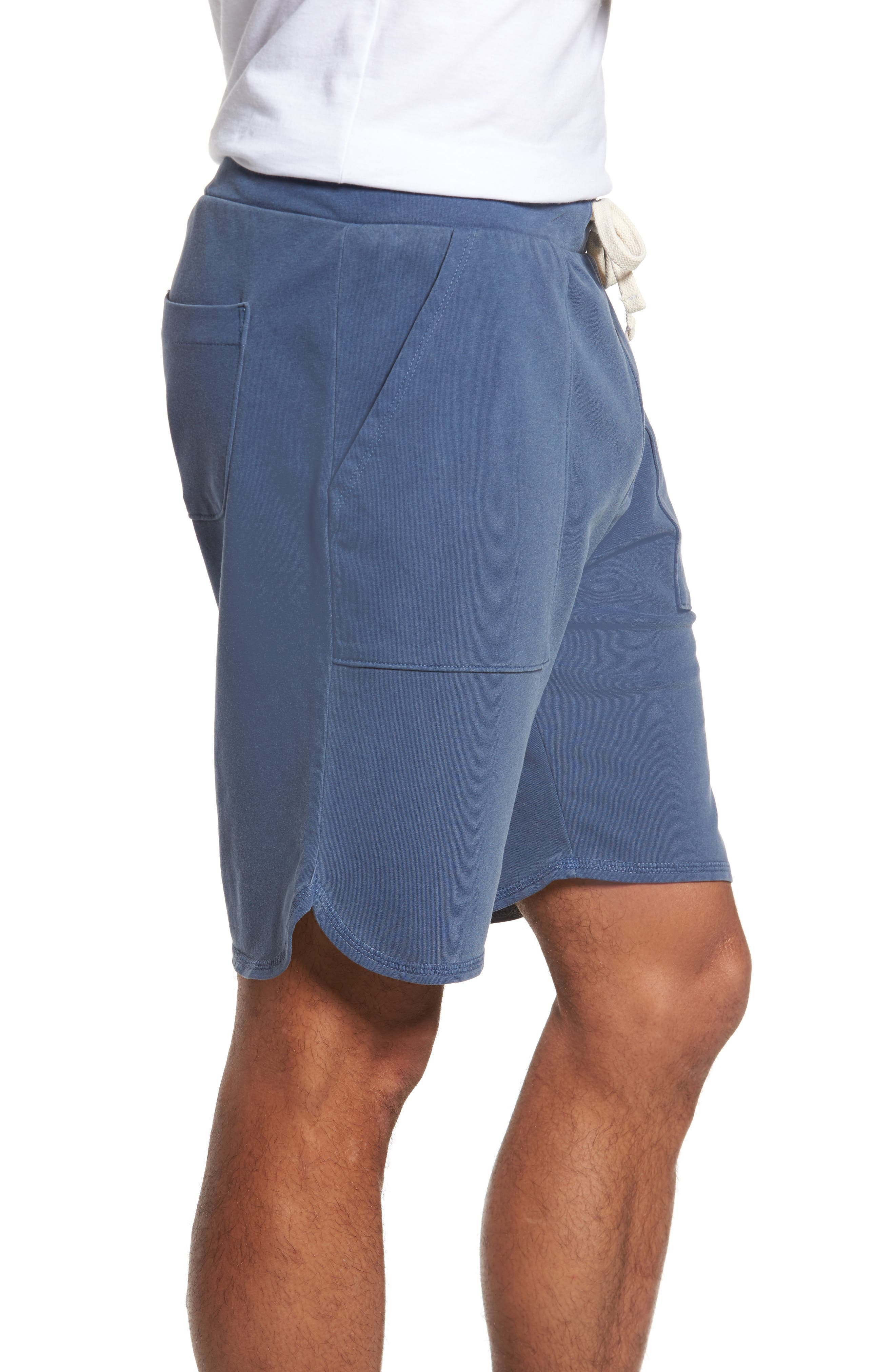 Terrycloth Scallop Shorts,                             Alternate thumbnail 3, color,                             Faded Navy
