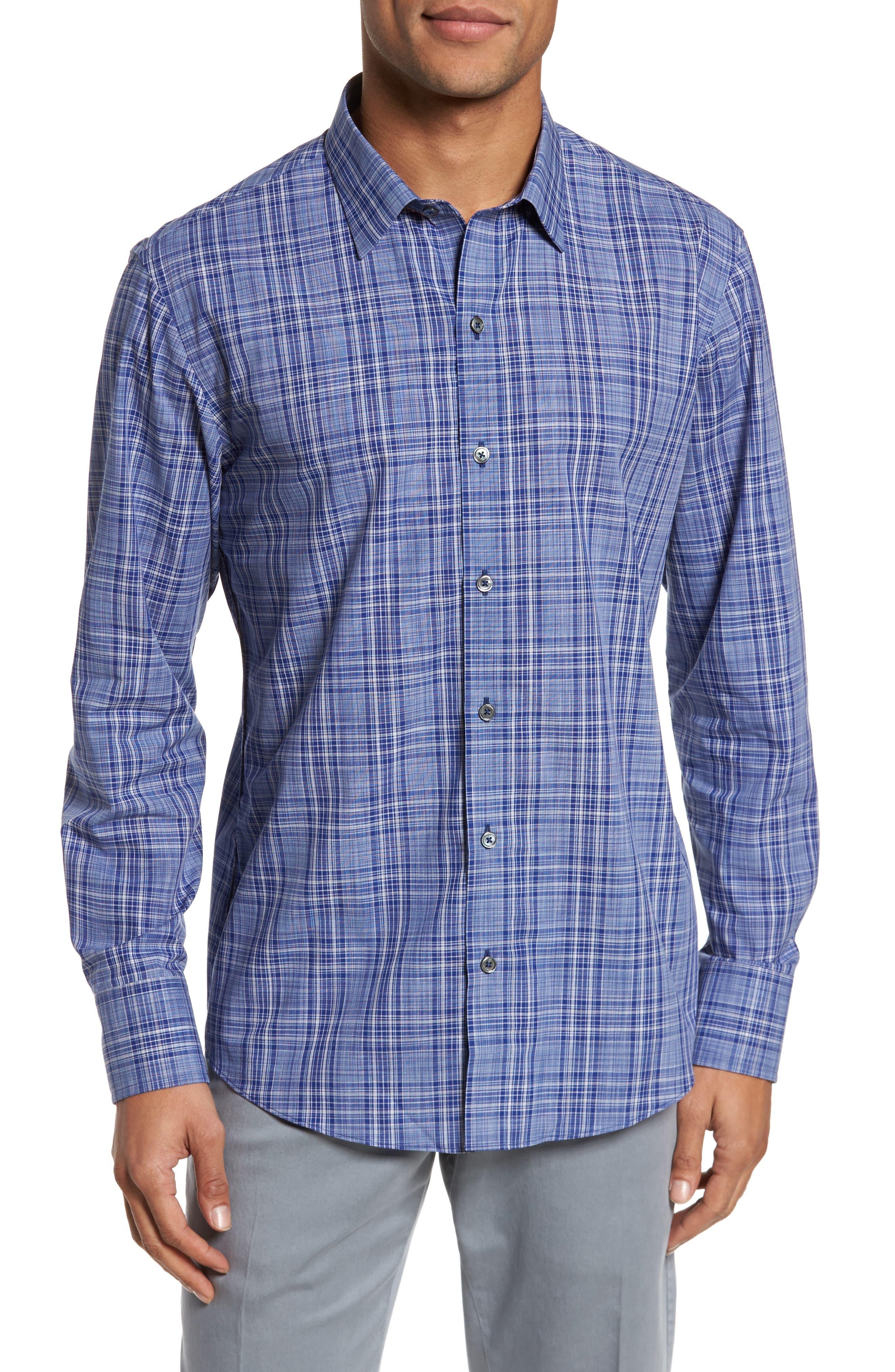 Santos Plaid Sport Shirt,                         Main,                         color, Royal