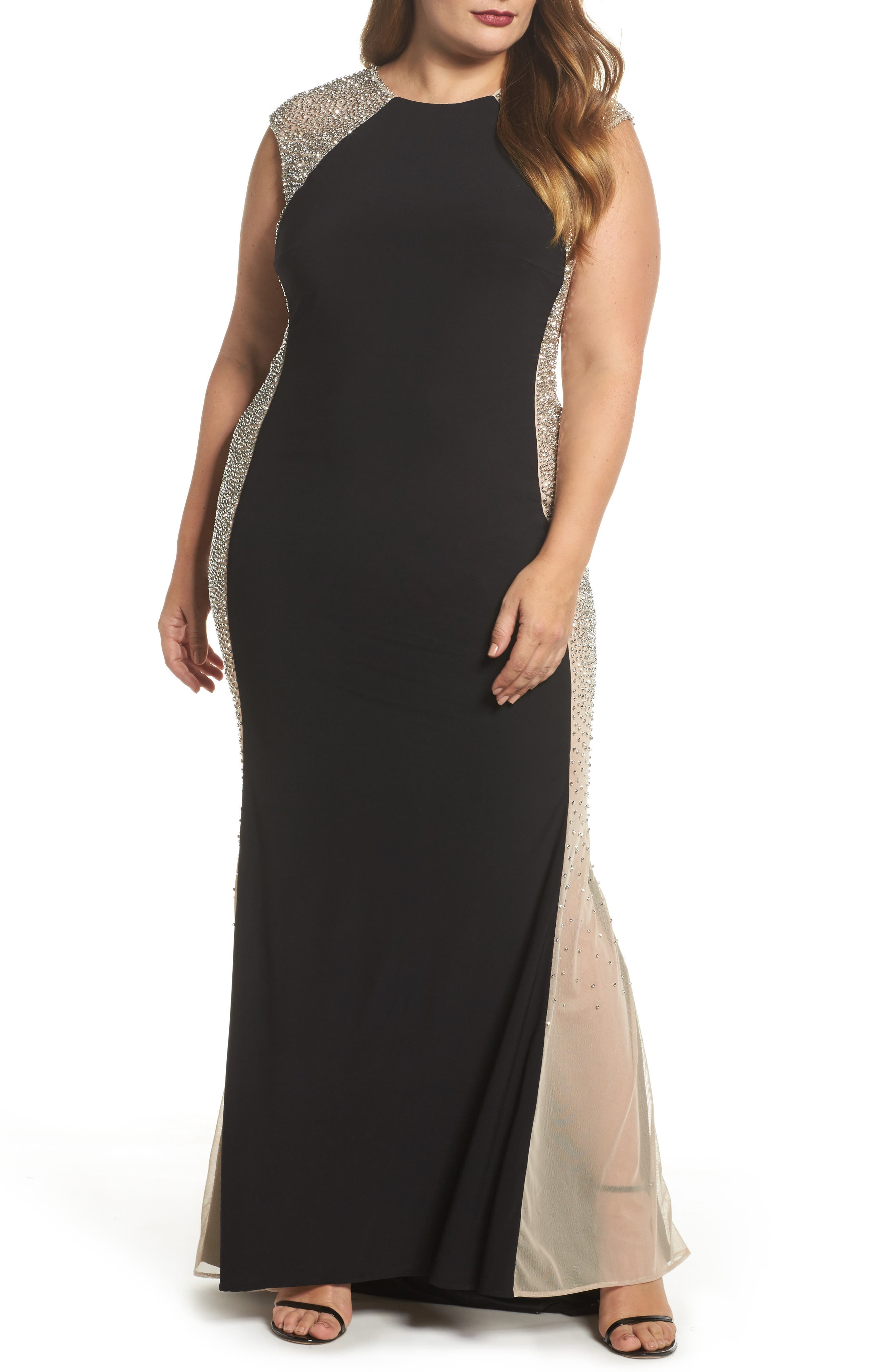 Beaded High Neck Column Gown,                         Main,                         color, Black/ Nude/ Silver