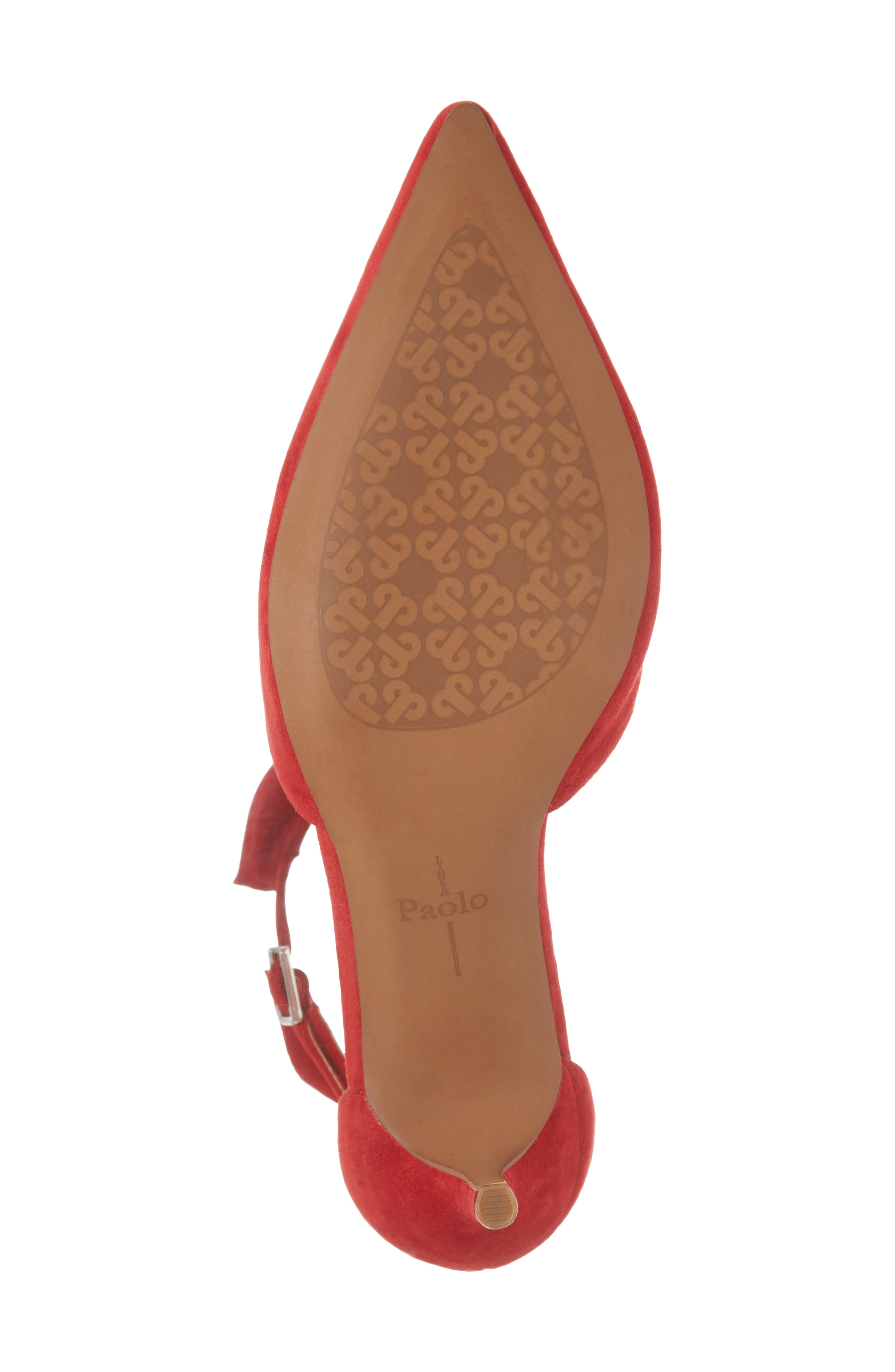 Pammy Ruffled Pointy Toe Pump,                             Alternate thumbnail 6, color,                             Red Suede