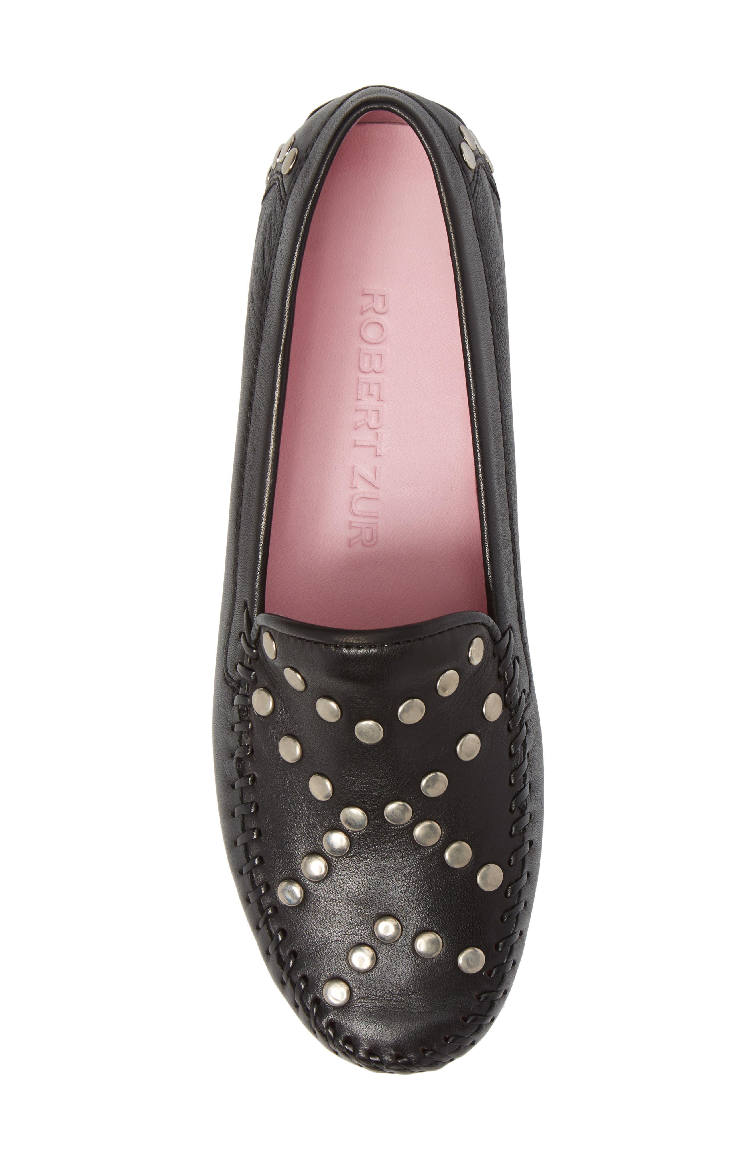 Tinae Studded Loafer,                             Alternate thumbnail 5, color,                             Black Leather