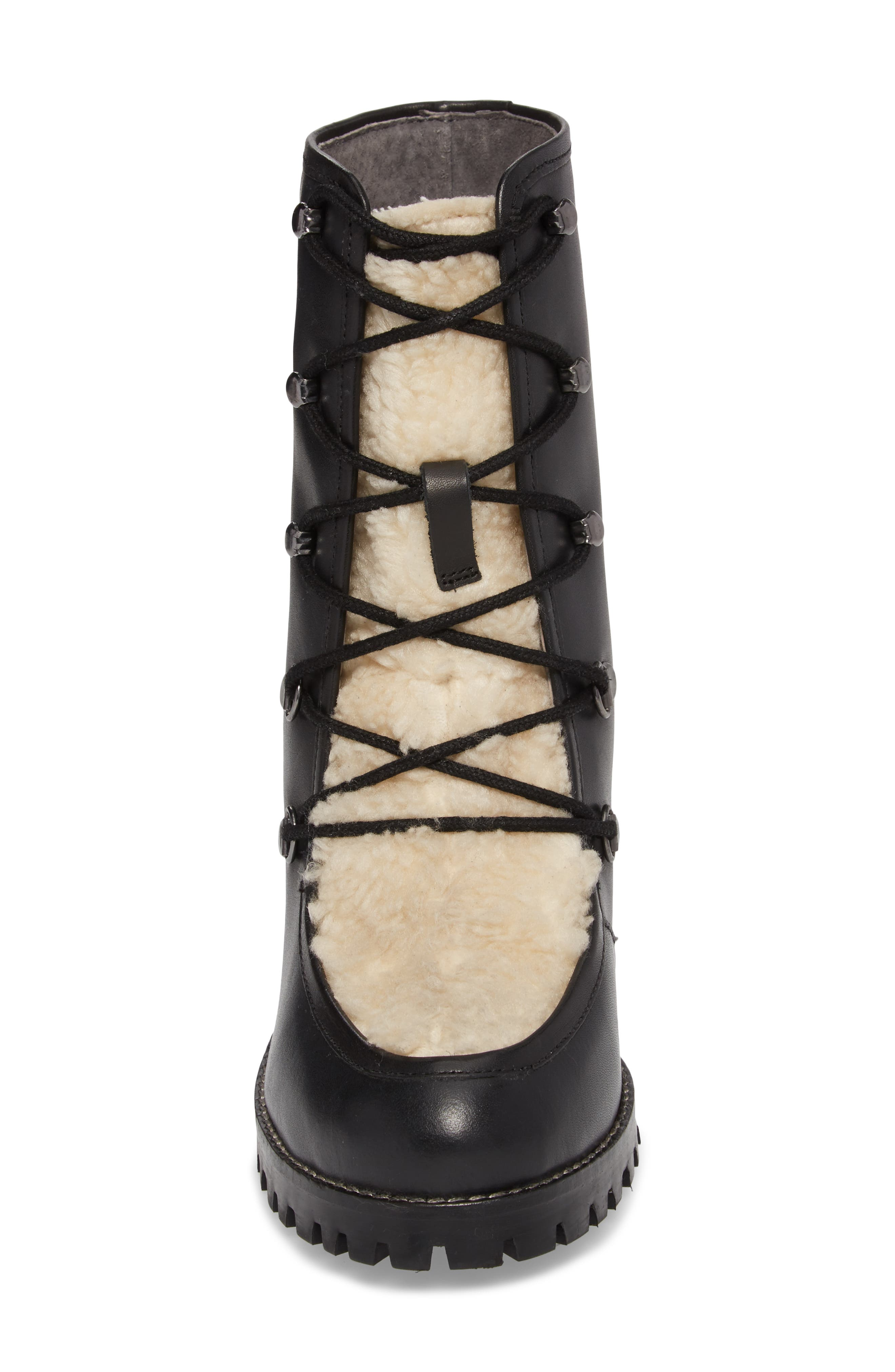 Theater Lace-Up Bootie,                             Alternate thumbnail 4, color,                             Black Leather