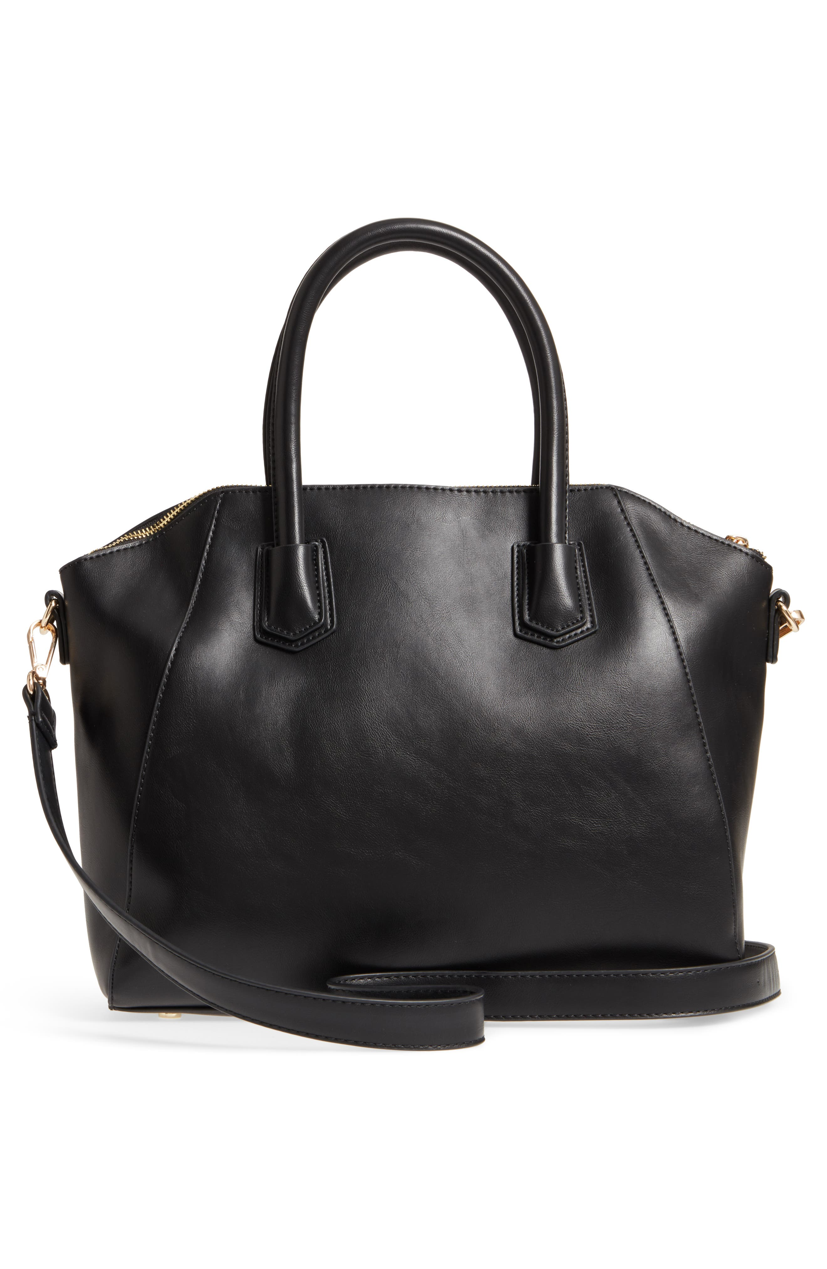 Chase Faux Leather Satchel,                             Alternate thumbnail 3, color,                             Black