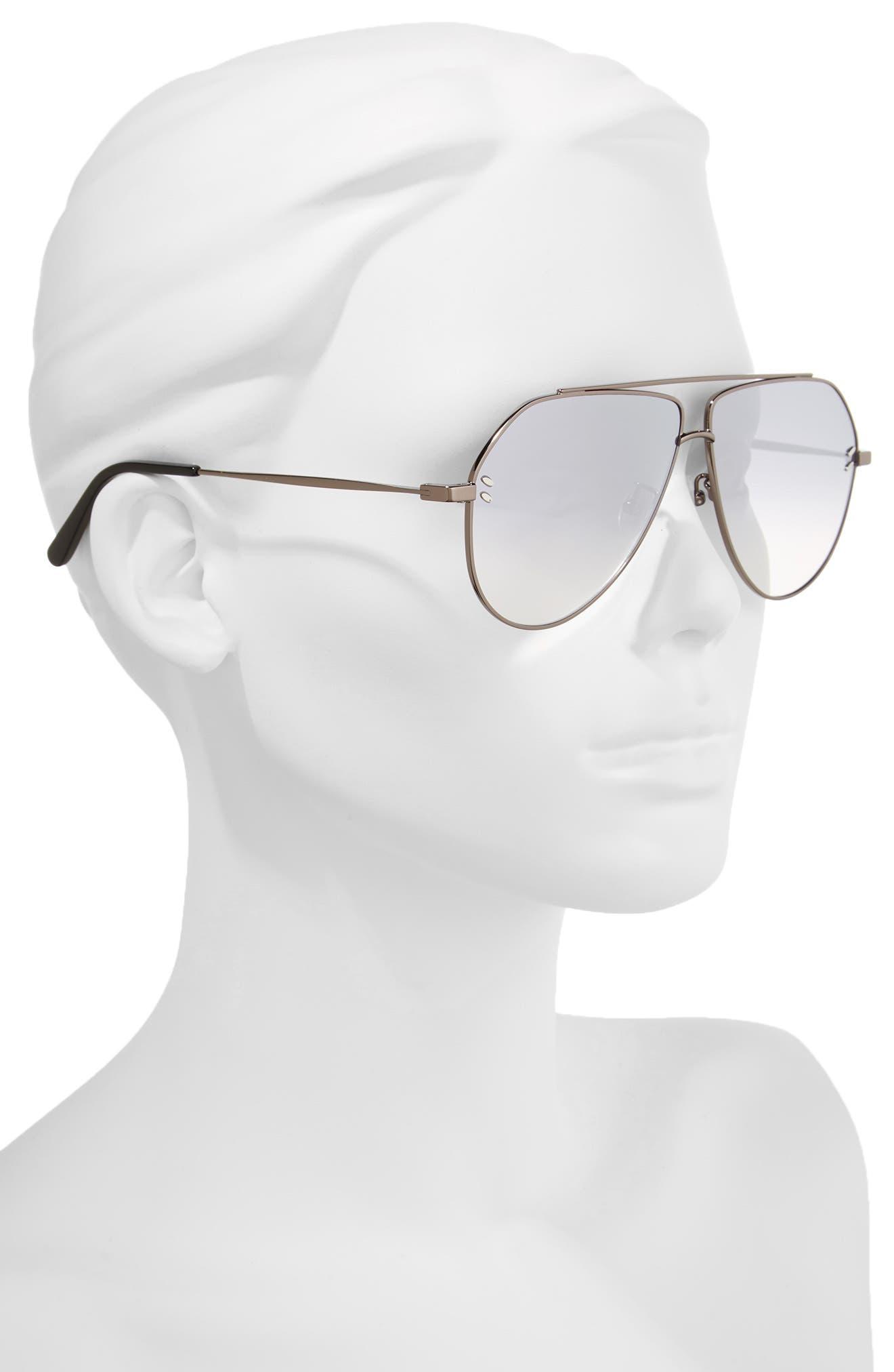 60mm Aviator Sunglasses,                             Alternate thumbnail 2, color,                             Ruthenium