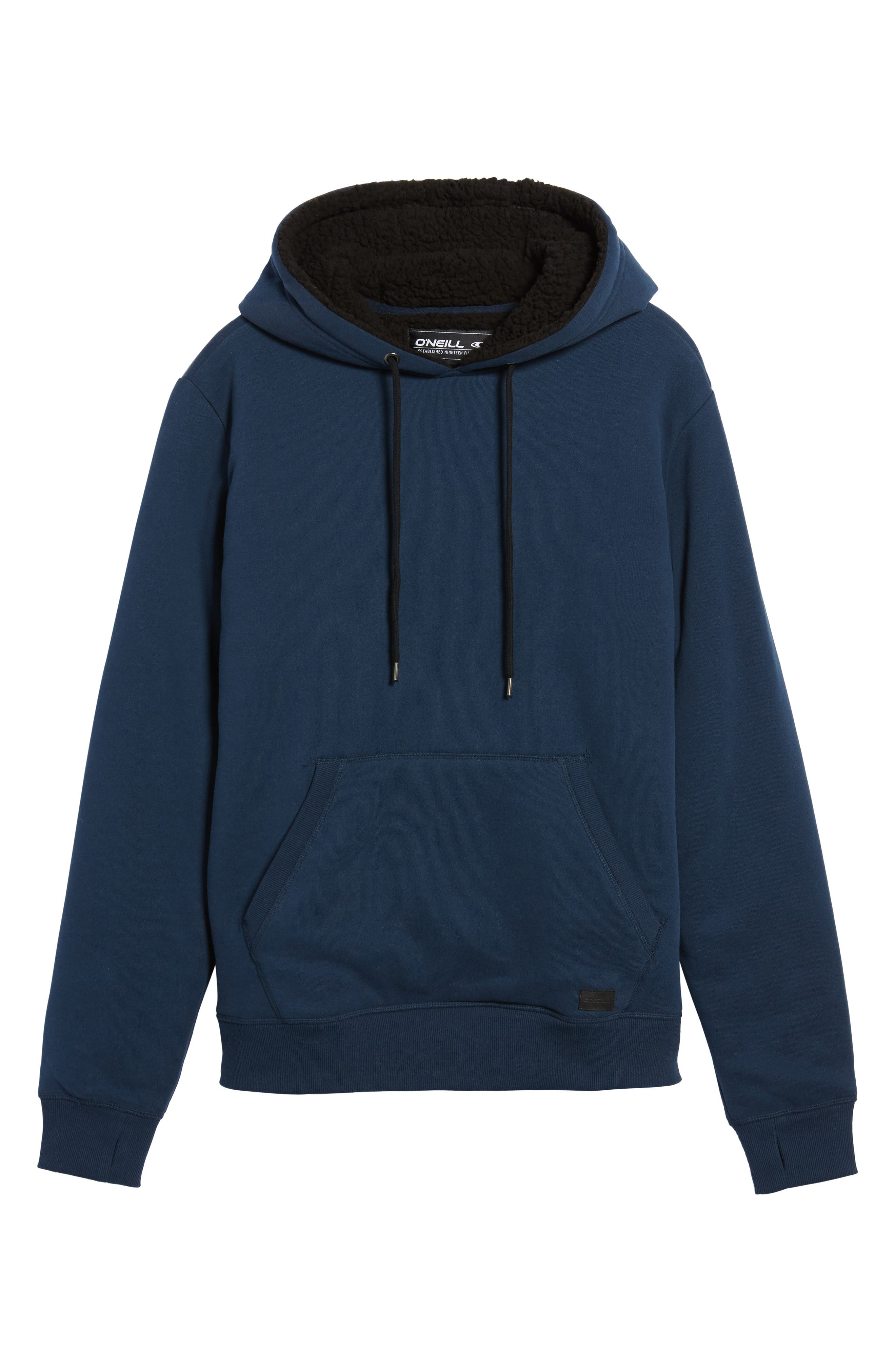 Staple Faux Shearling Trim Hoodie,                             Alternate thumbnail 6, color,                             Navy