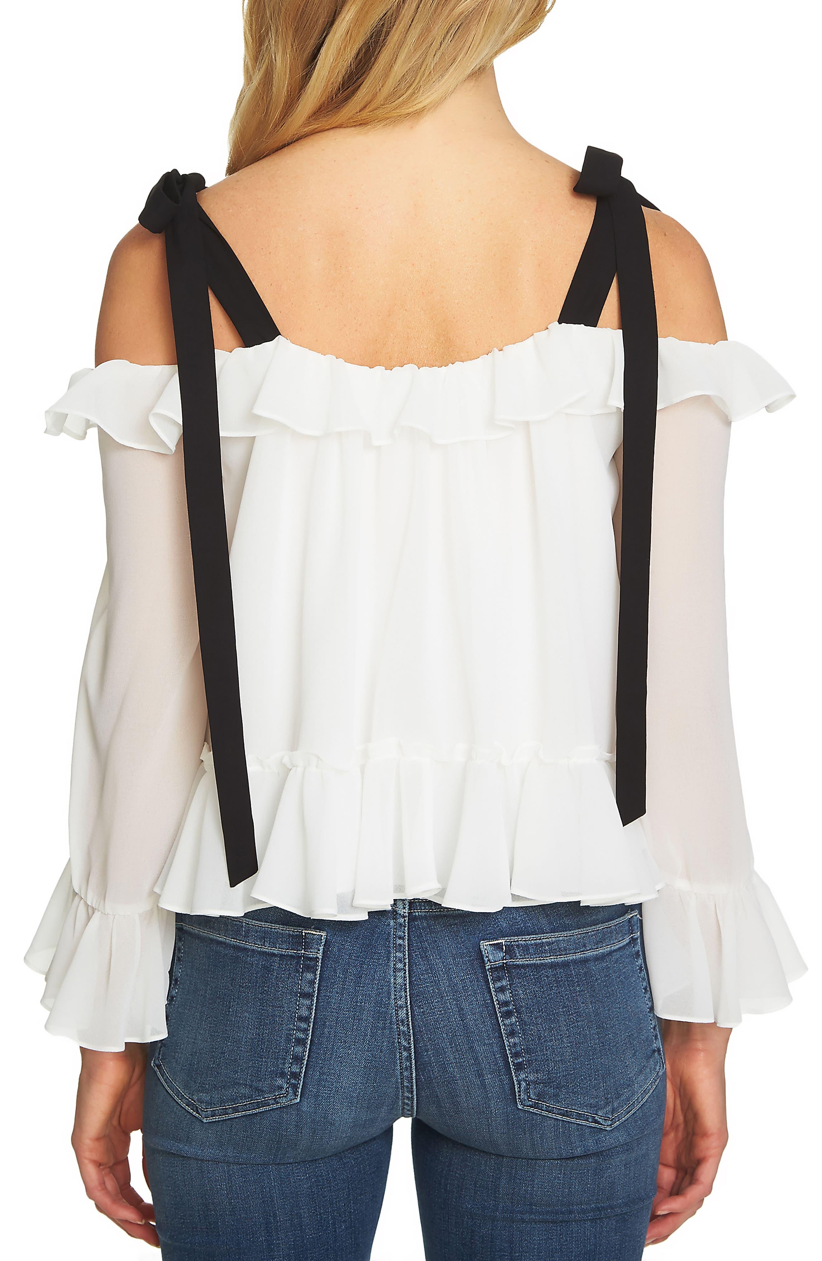 Alternate Image 2  - CeCe Ruffled Tie-Shoulder Blouse