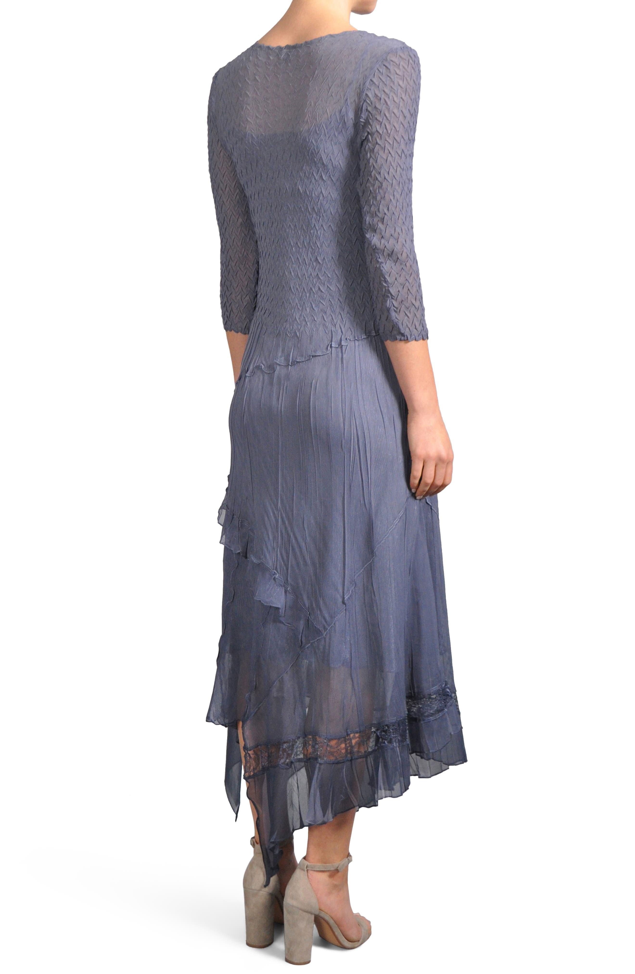 Alternate Image 2  - Komarov Beaded Neck Handkerchief Hem Dress