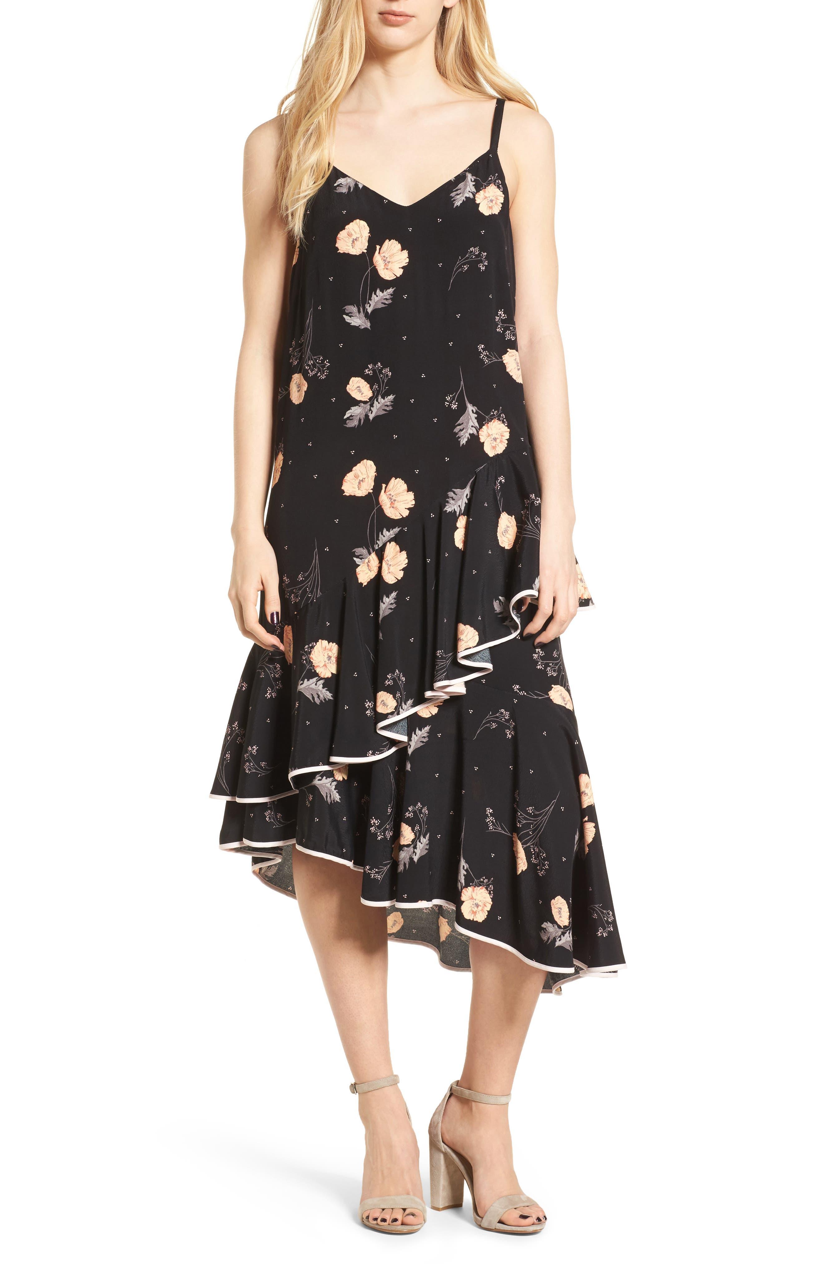 Asymmetrical Ruffle Midi Dress,                             Main thumbnail 1, color,                             Black Spring Bloom