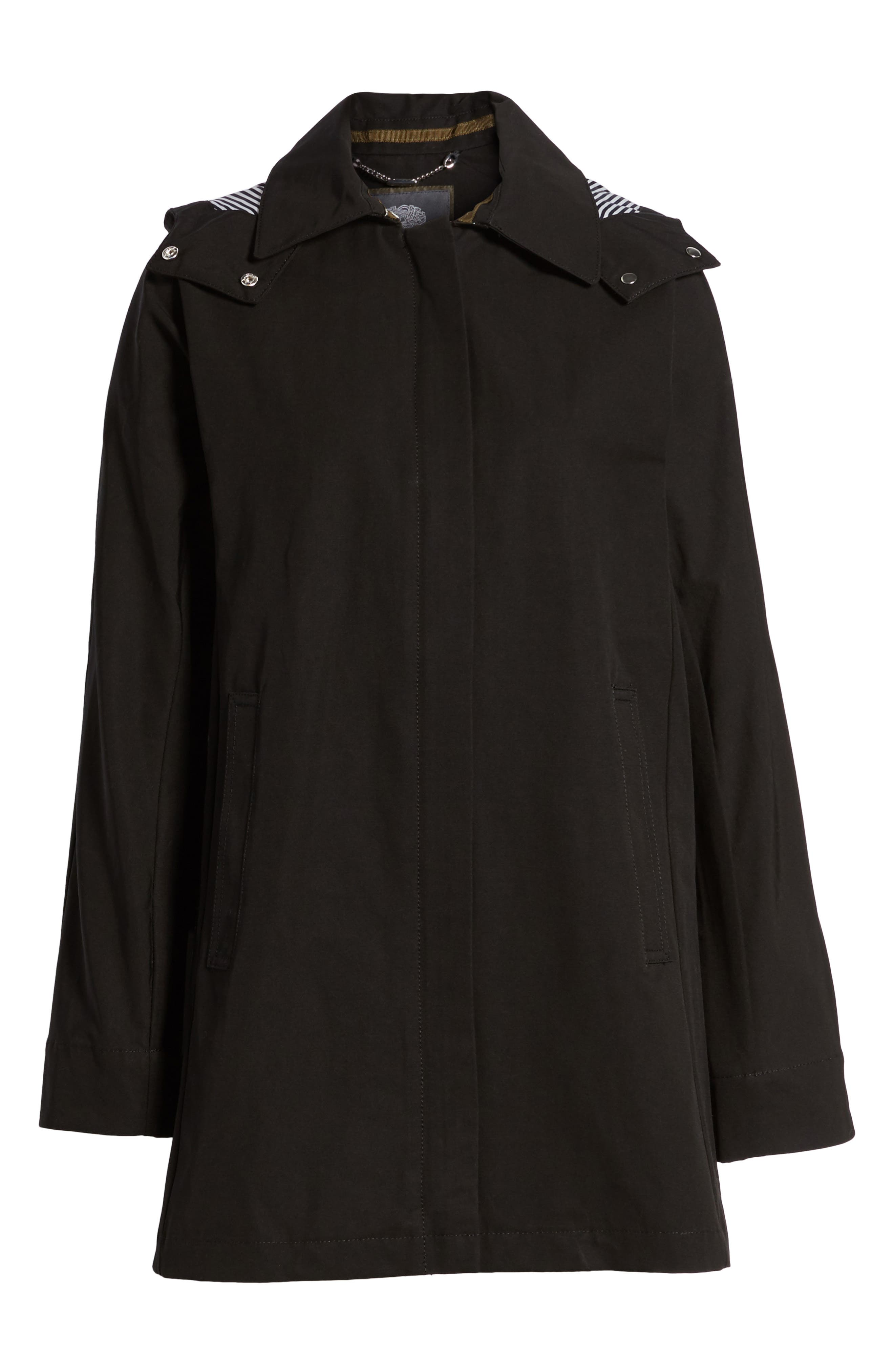 Hooded Fly Front Stadium Jacket,                             Main thumbnail 1, color,                             Black