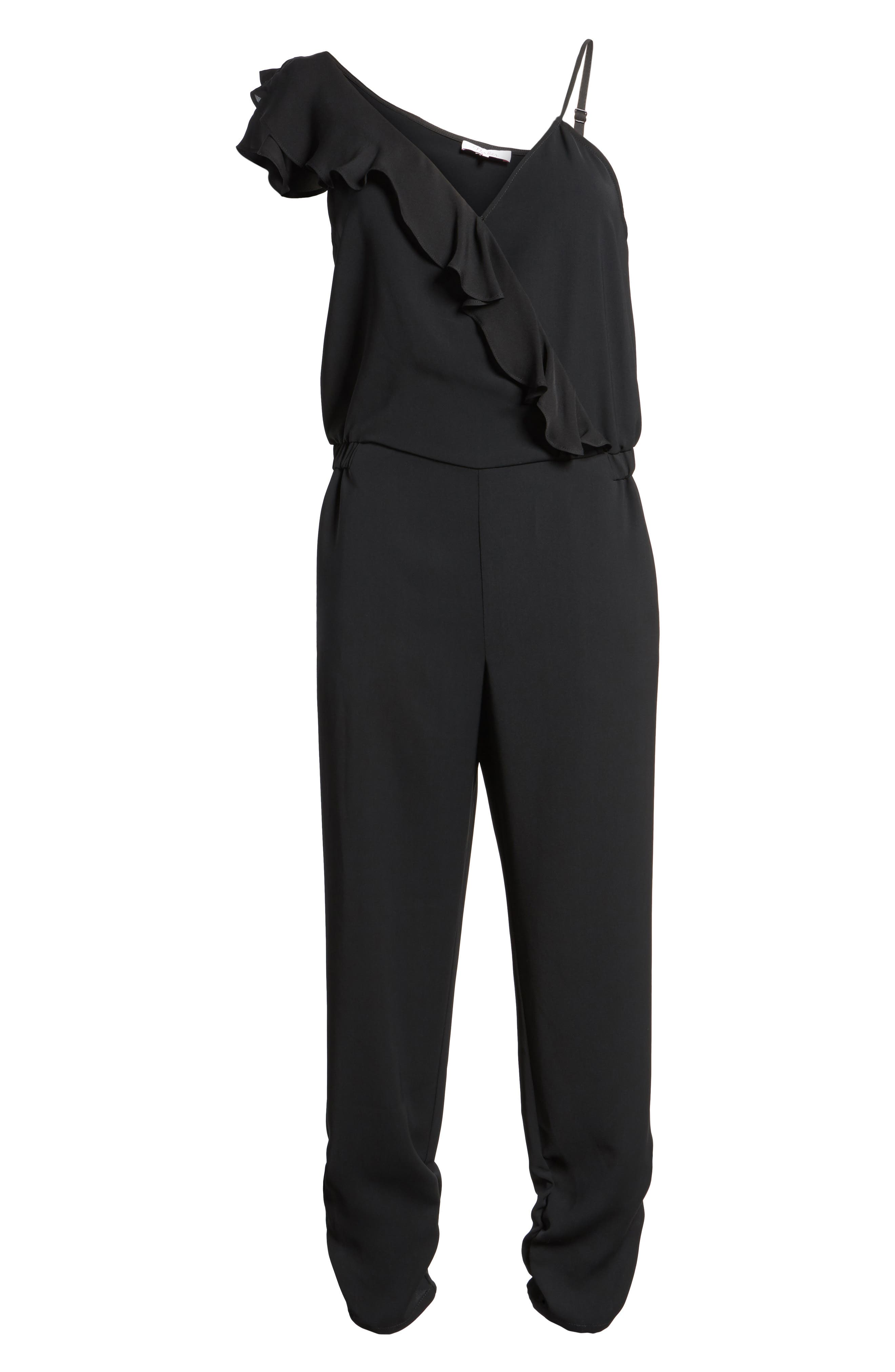 Addison Asymmetrical Jumpsuit,                             Alternate thumbnail 6, color,                             Black