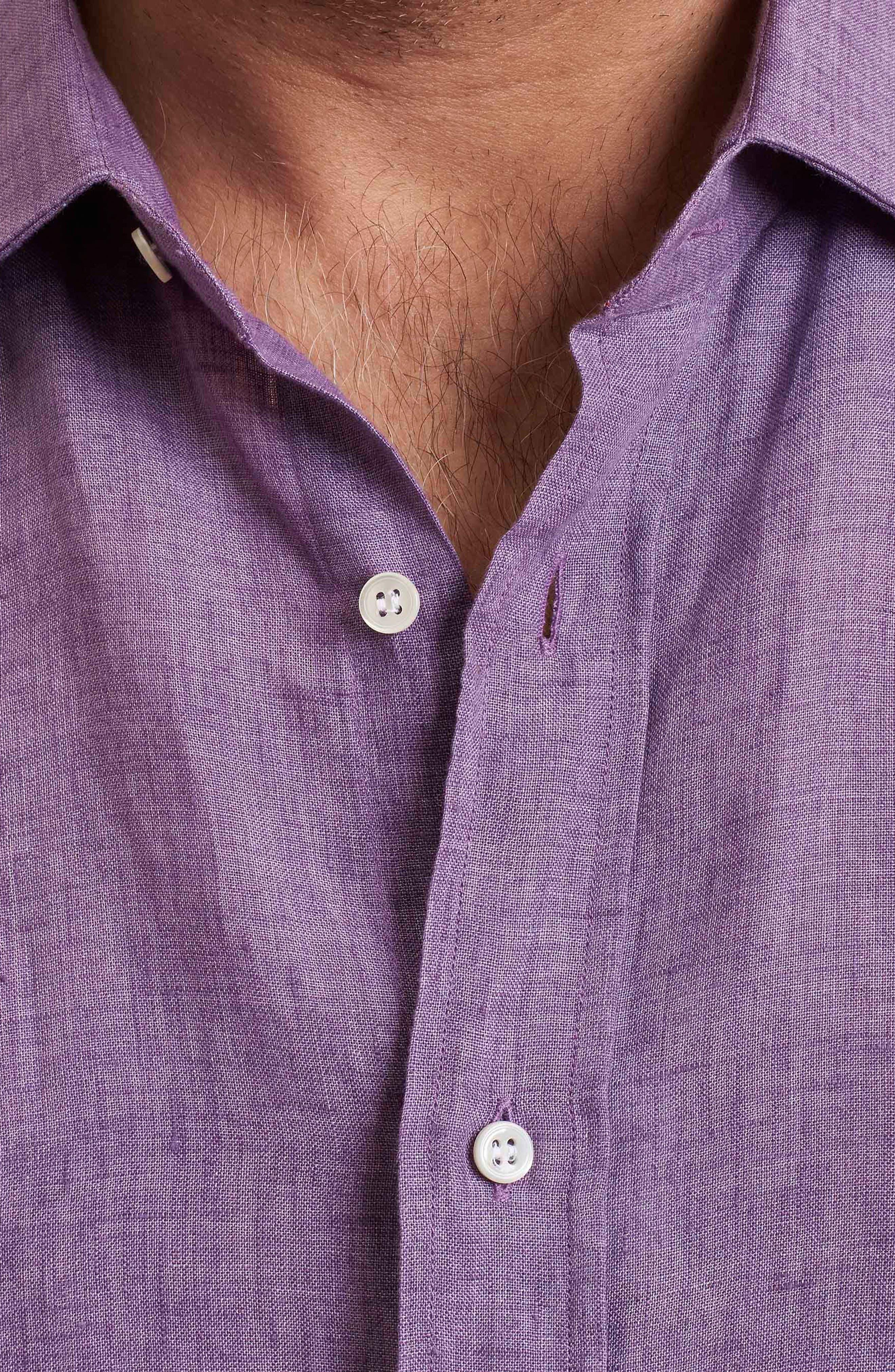Delave Regular Fit Linen Sport Shirt,                             Alternate thumbnail 3, color,                             Purple