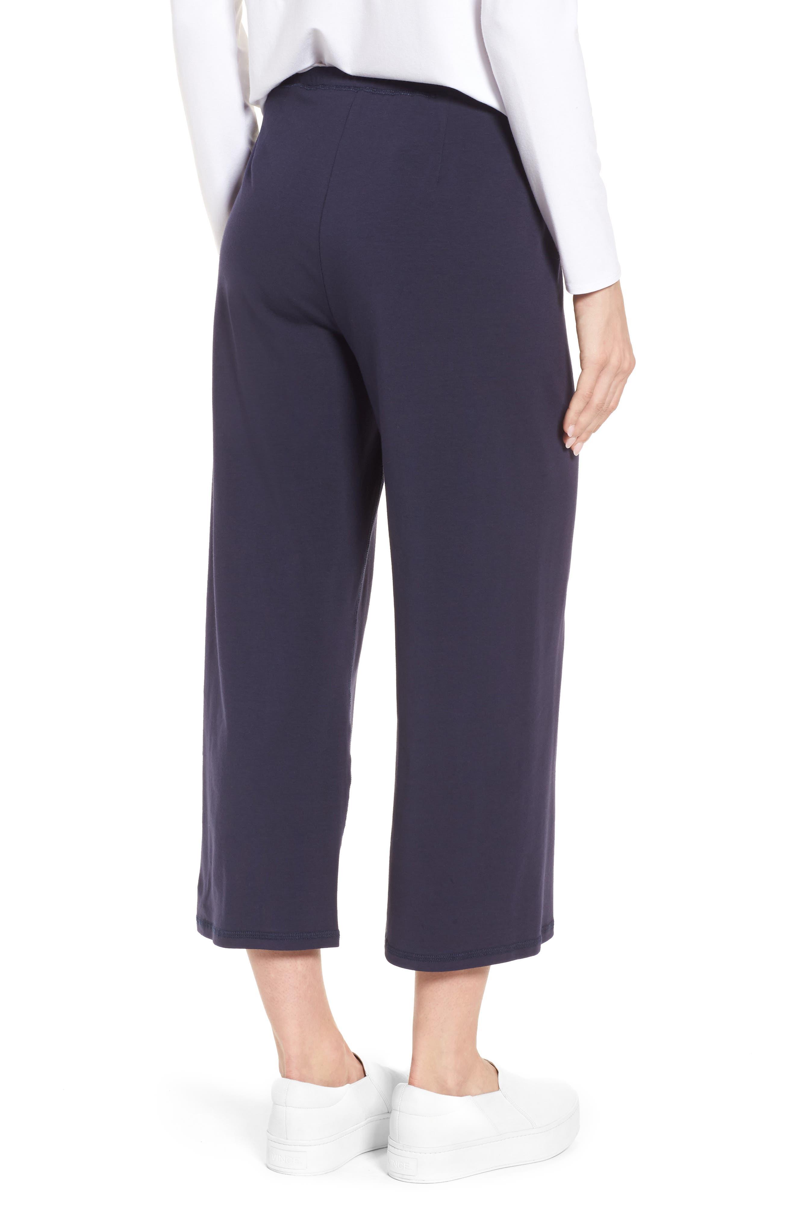Stretch Organic Cotton Crop Pants,                             Alternate thumbnail 2, color,                             Midnight