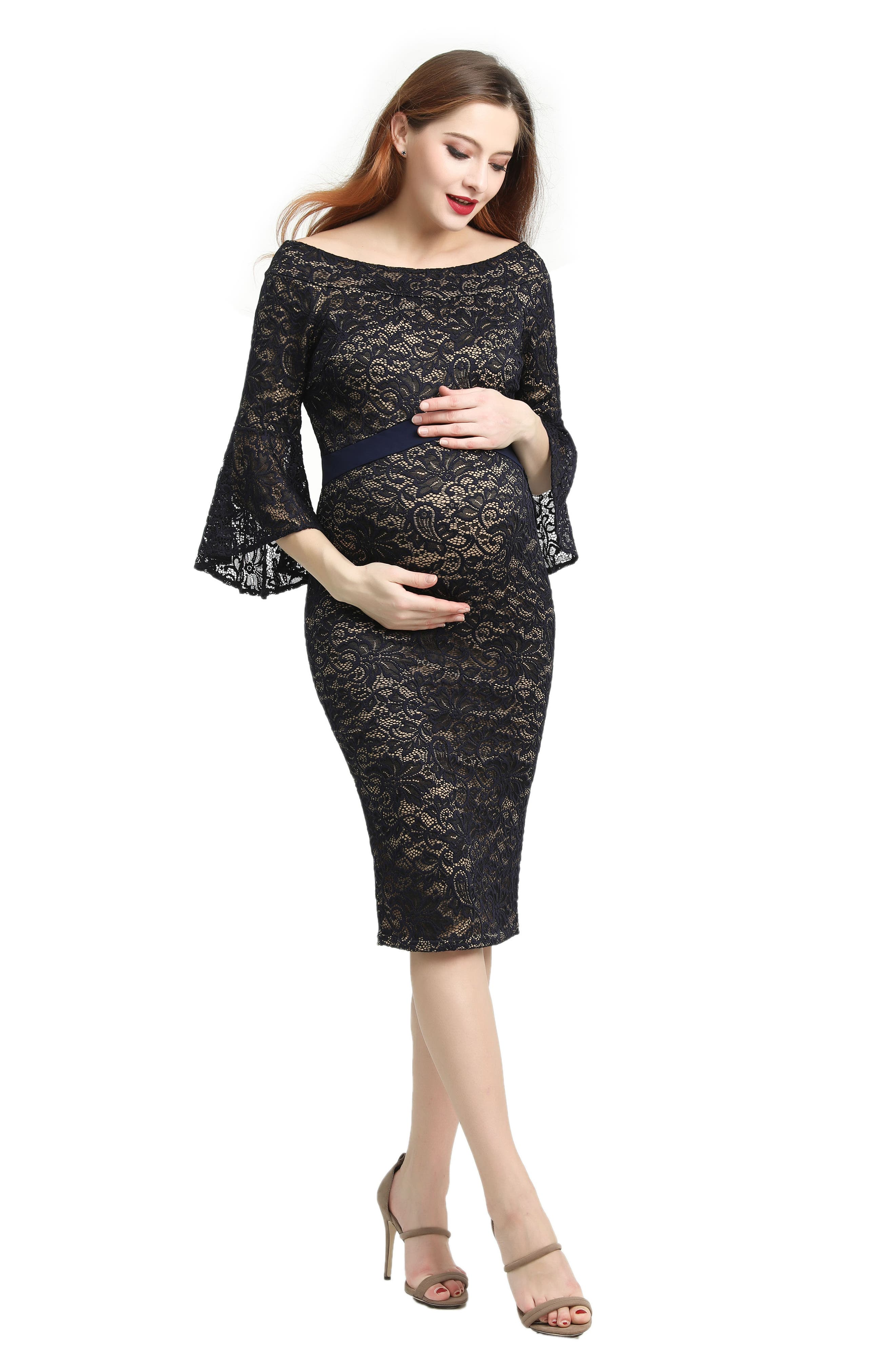 Kimi & Kai Lena Maternity Body-Con Dress,                             Alternate thumbnail 4, color,                             Navy