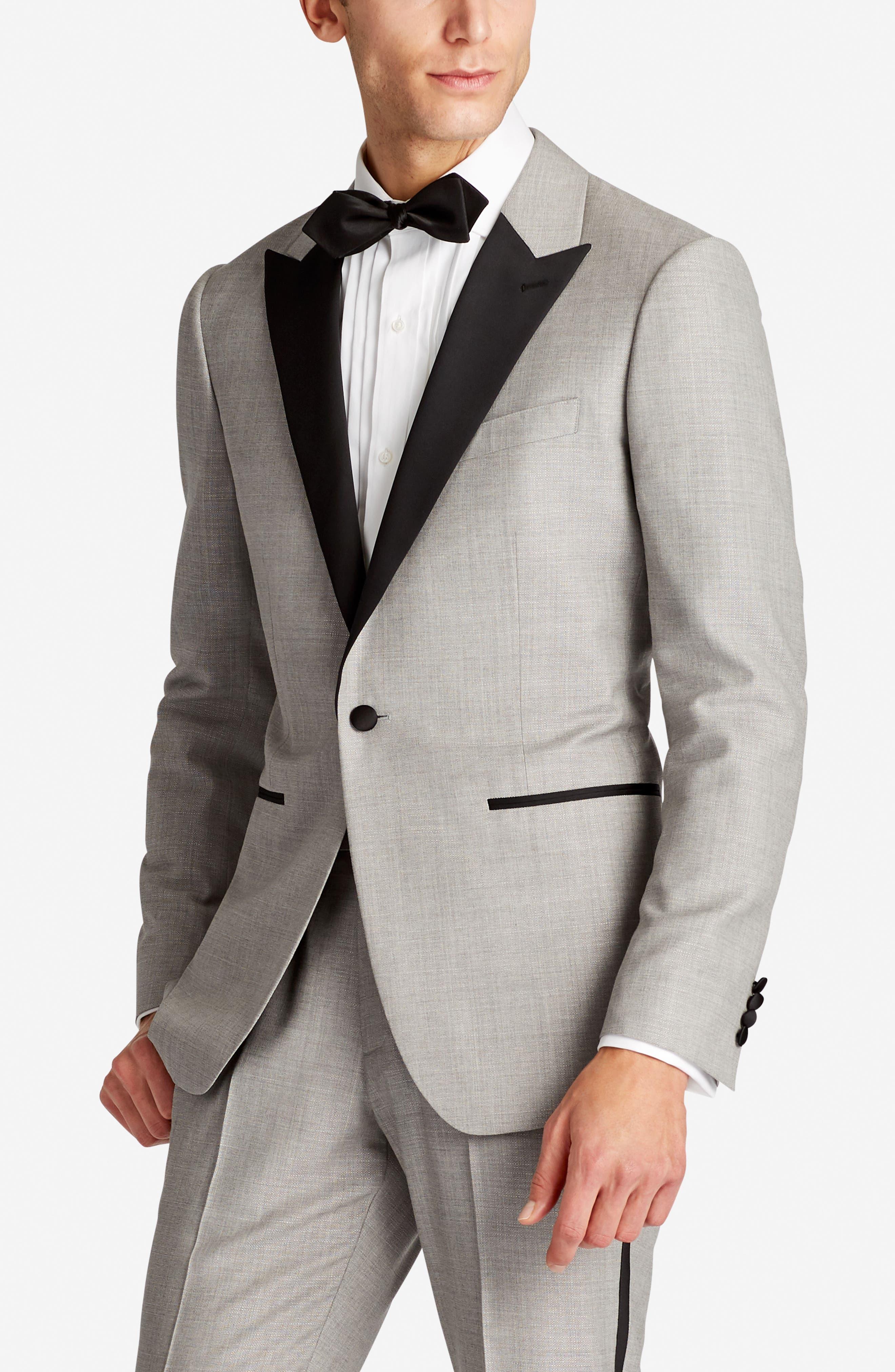 Capstone Slim Fit Wool Dinner Jacket,                             Alternate thumbnail 3, color,                             Pearl Grey