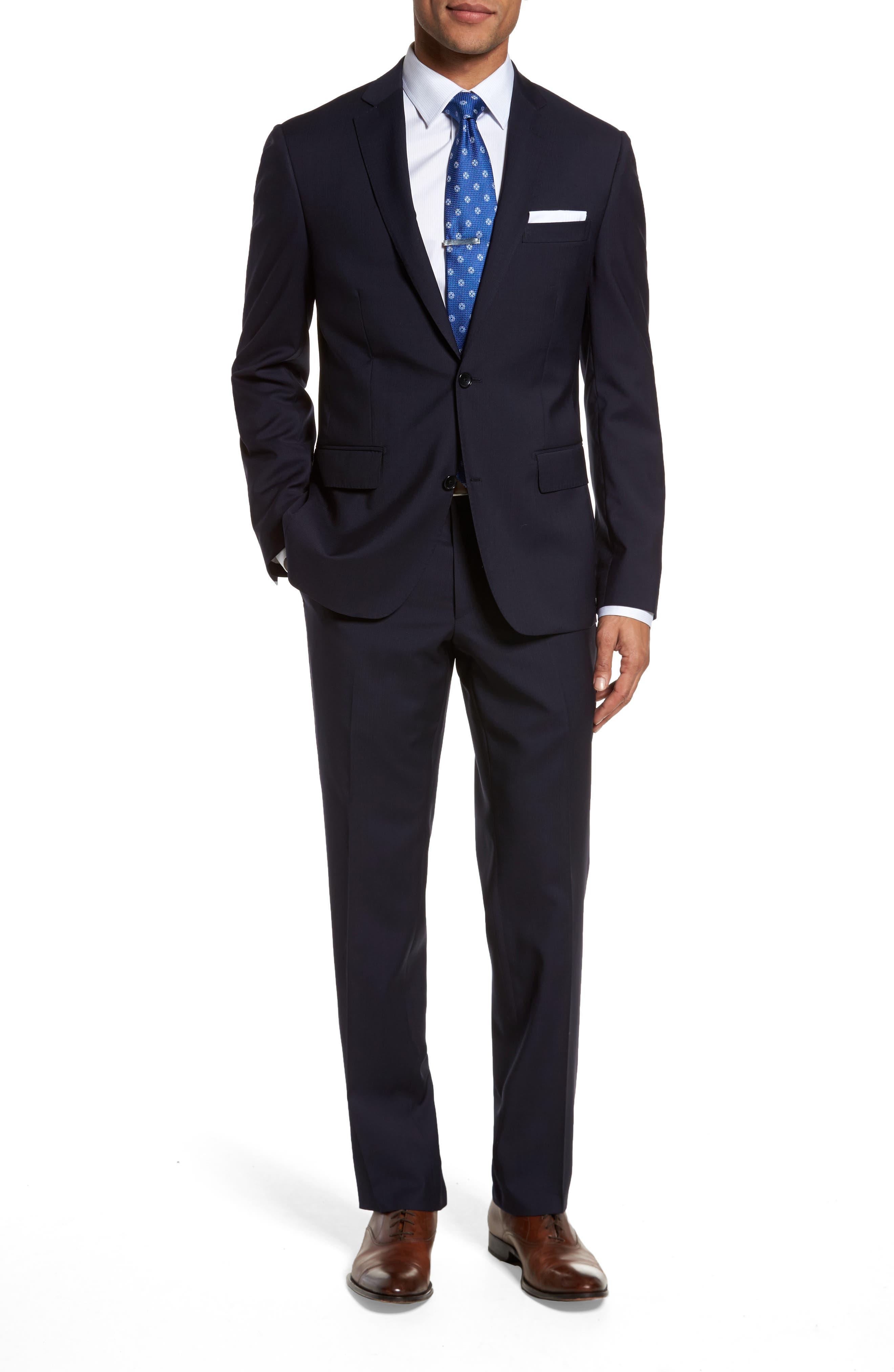 Classic Fit Check Suit,                         Main,                         color, Navy