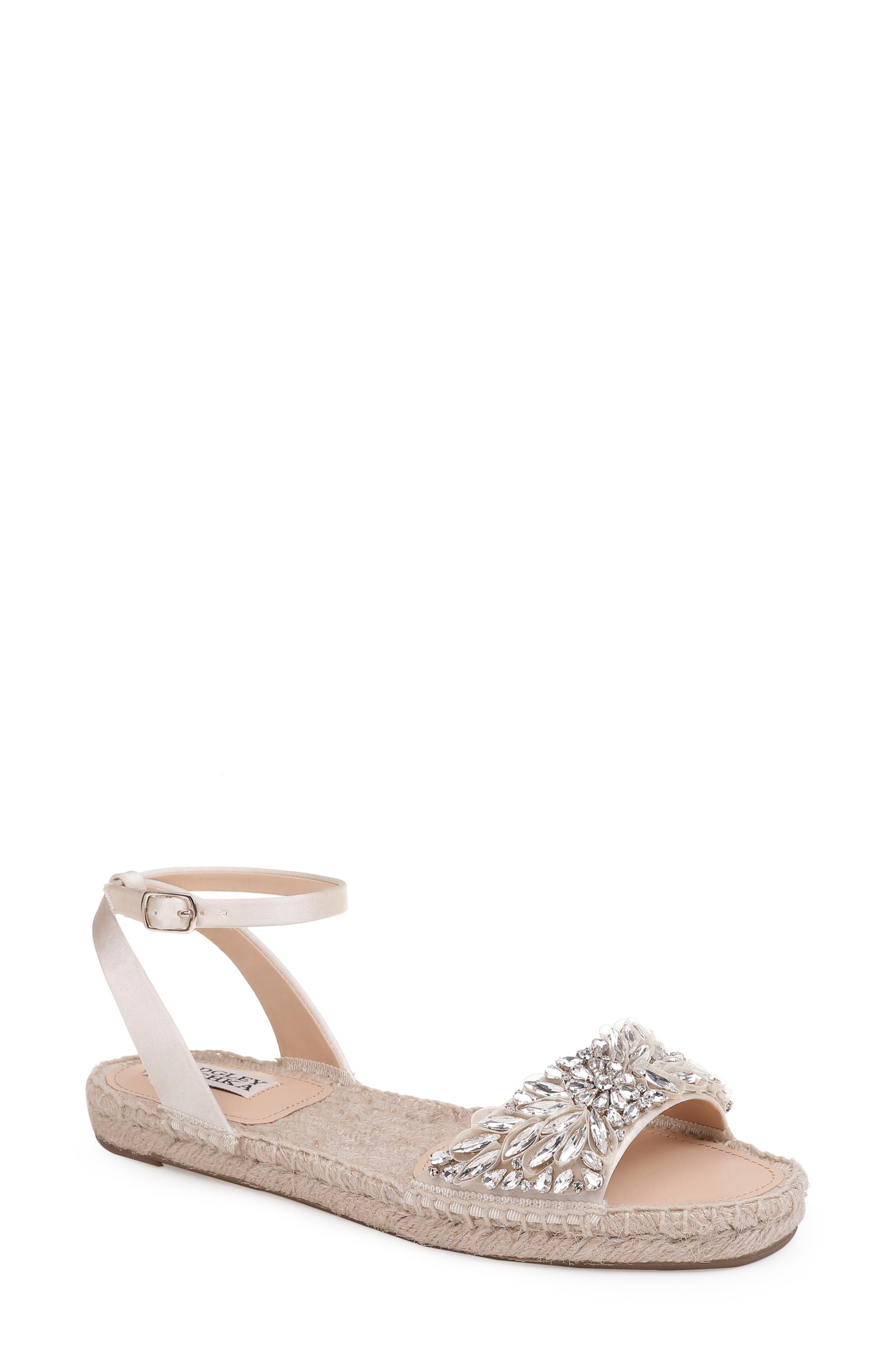 Satine Espadrille Sandal,                             Main thumbnail 1, color,                             Ivory Satin