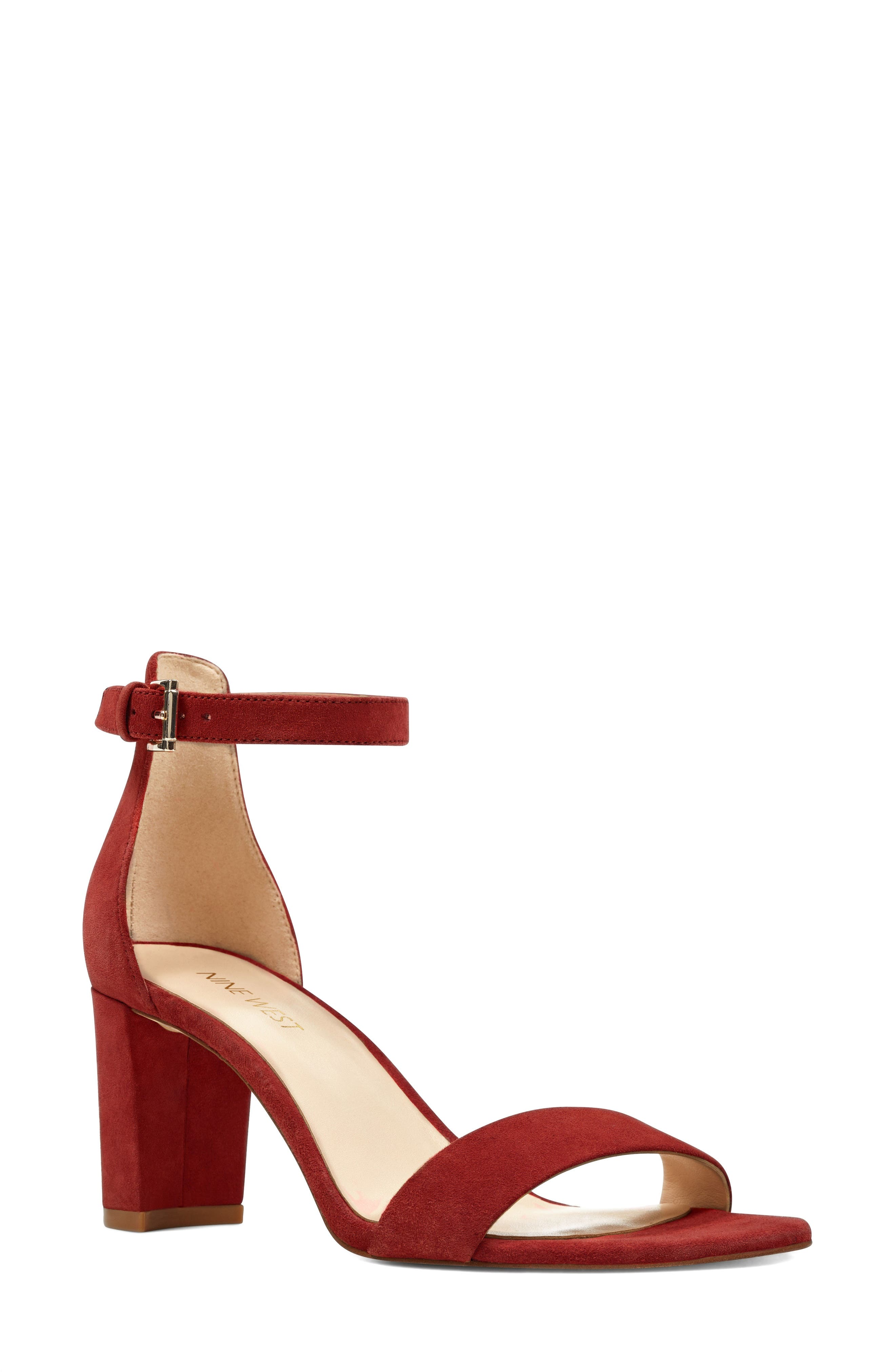 Pruce Ankle Strap Sandal,                             Main thumbnail 1, color,                             Red Suede