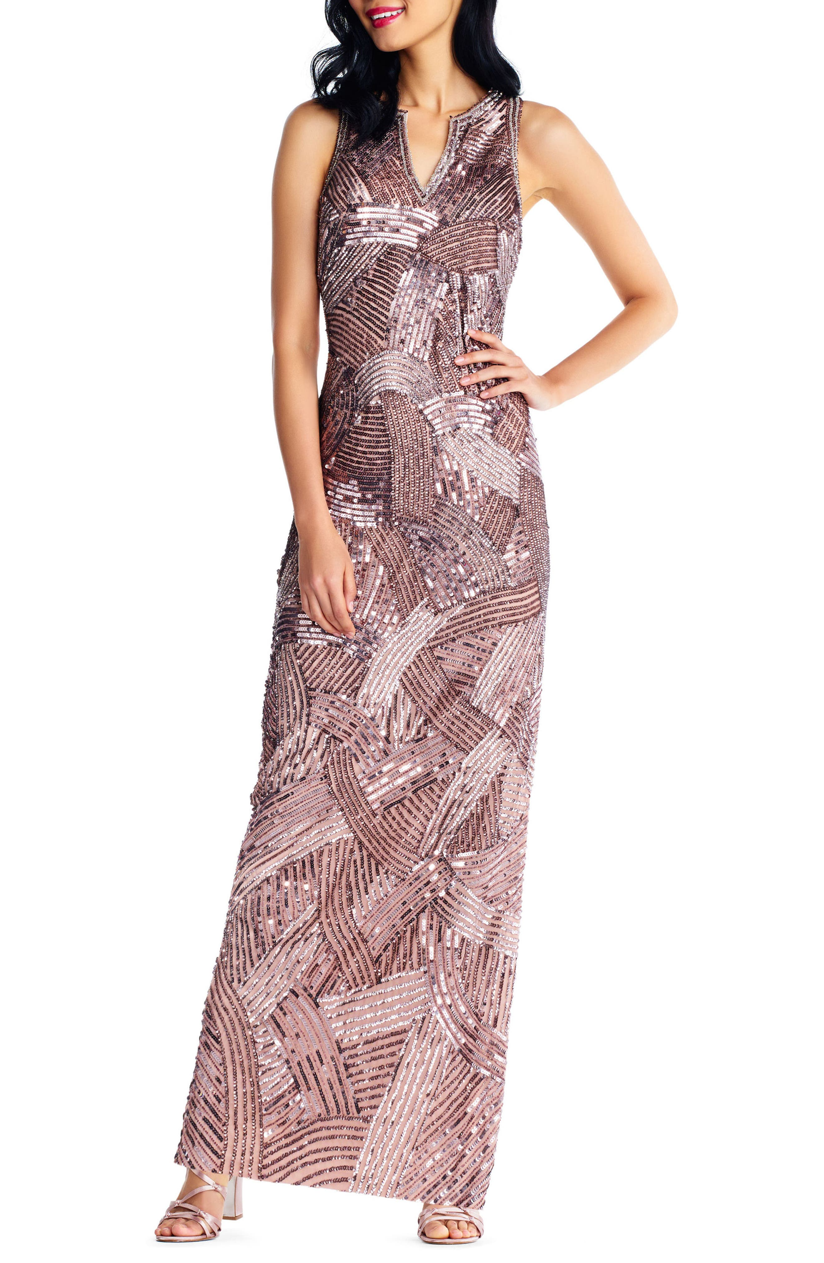 Sequin Gown,                         Main,                         color, Stone