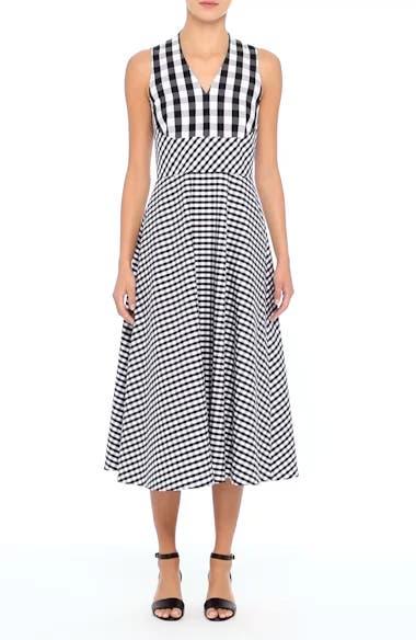 Lafayette 148 New York Adina Gingham Midi Dress