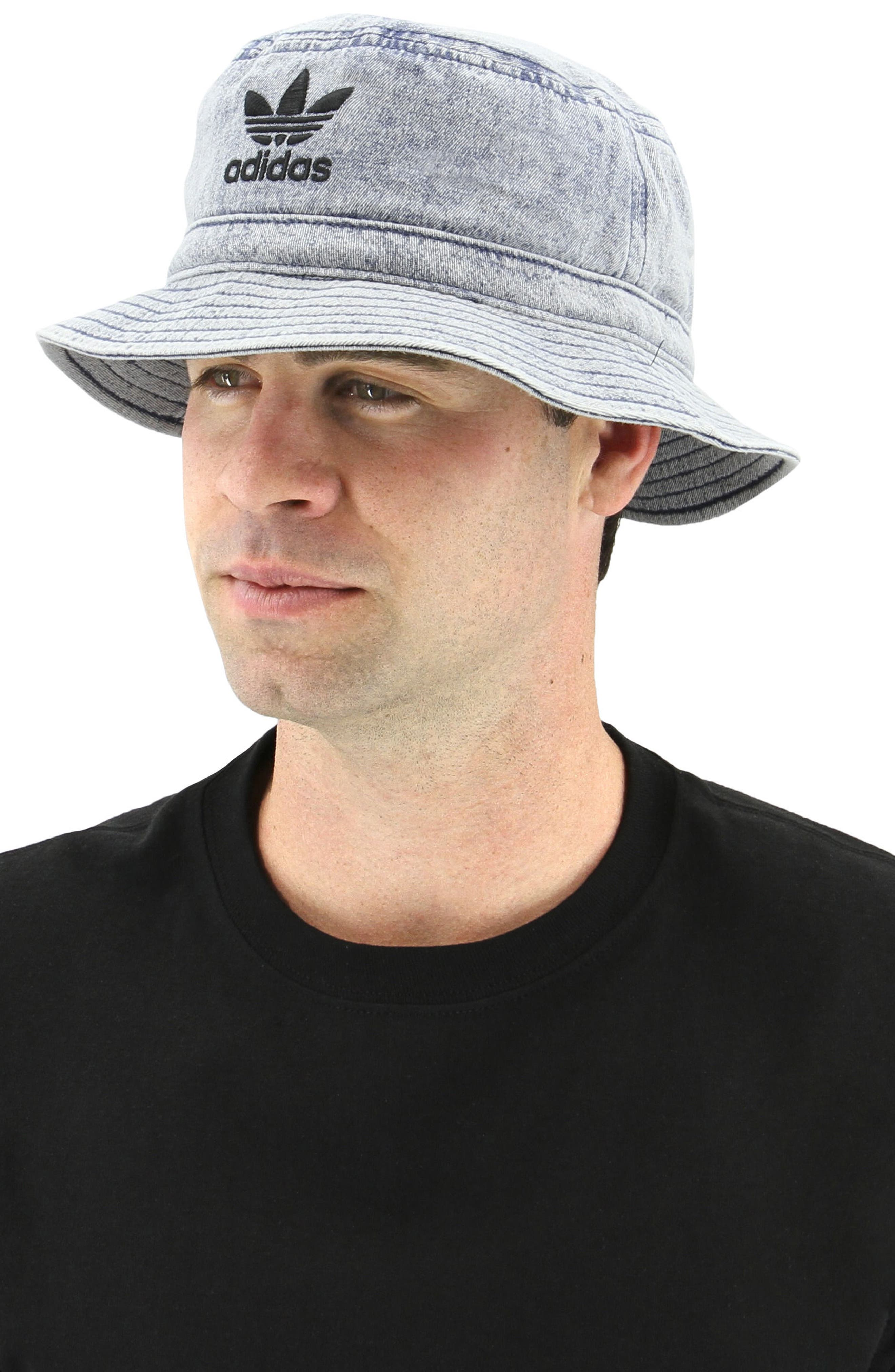 Denim Bucket Hat,                             Alternate thumbnail 3, color,                             Navy/ Black