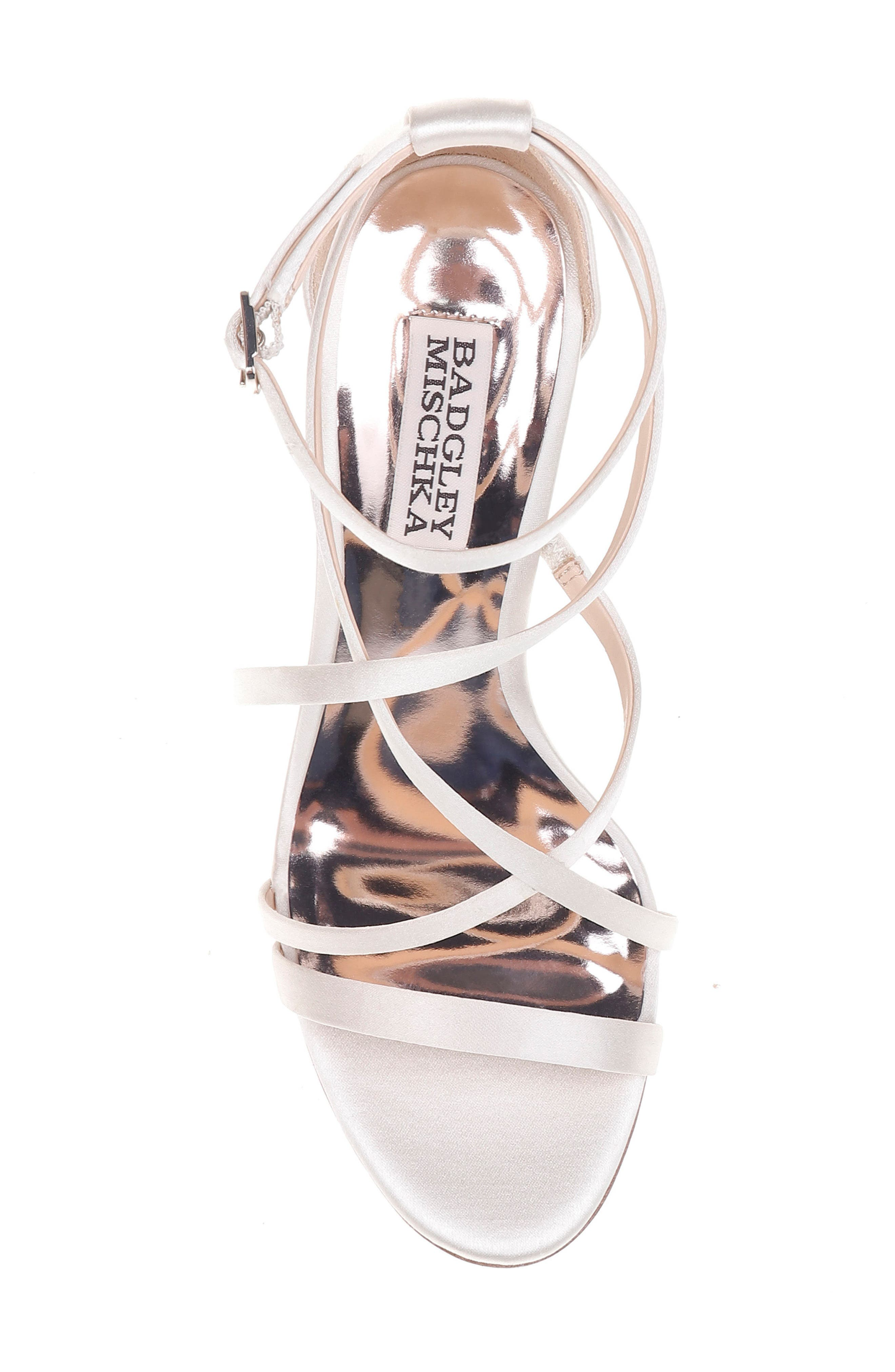 Shelly Strappy Wedge Sandal,                             Alternate thumbnail 5, color,                             Ivory Satin