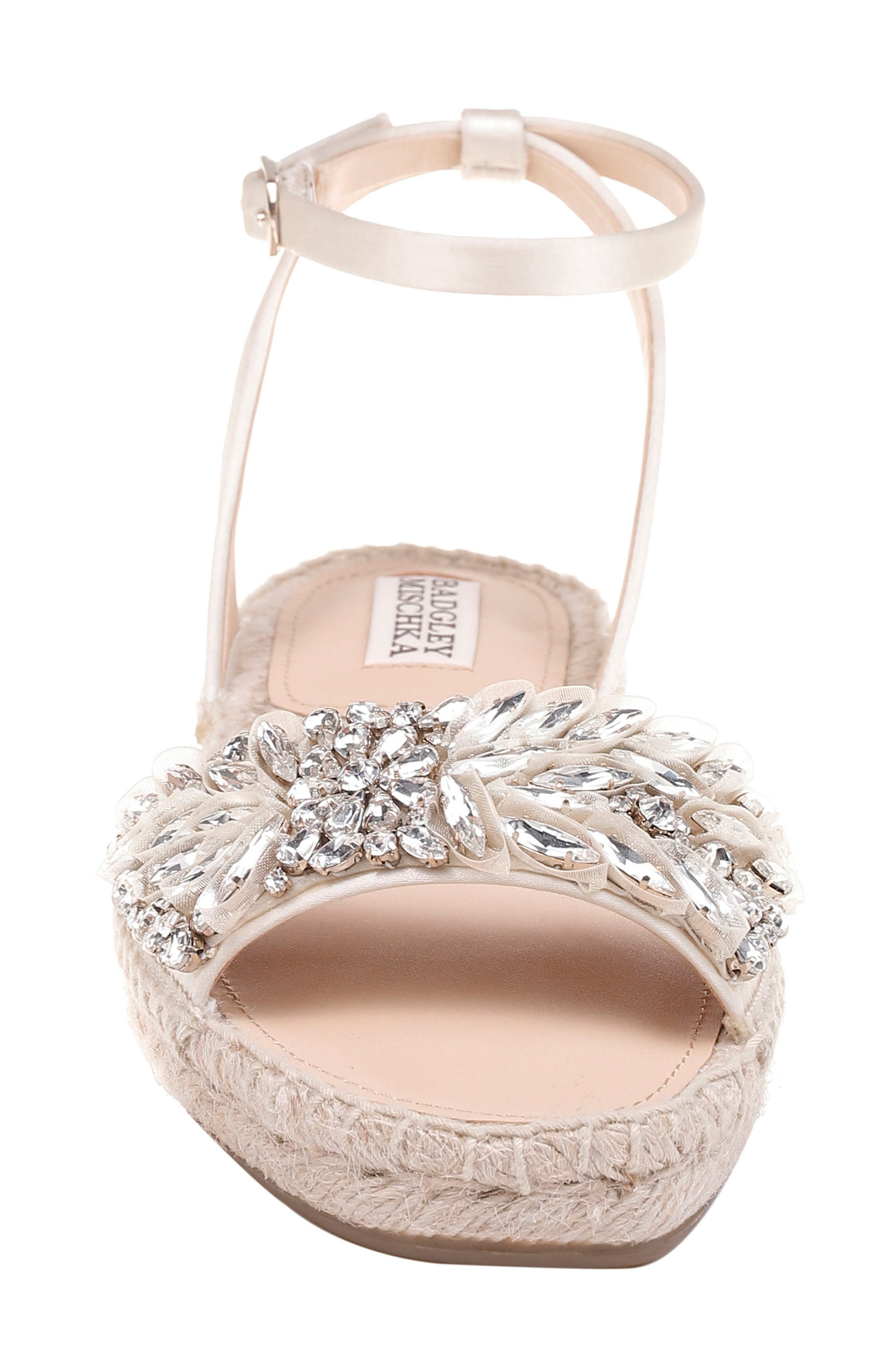 Satine Espadrille Sandal,                             Alternate thumbnail 4, color,                             Ivory Satin