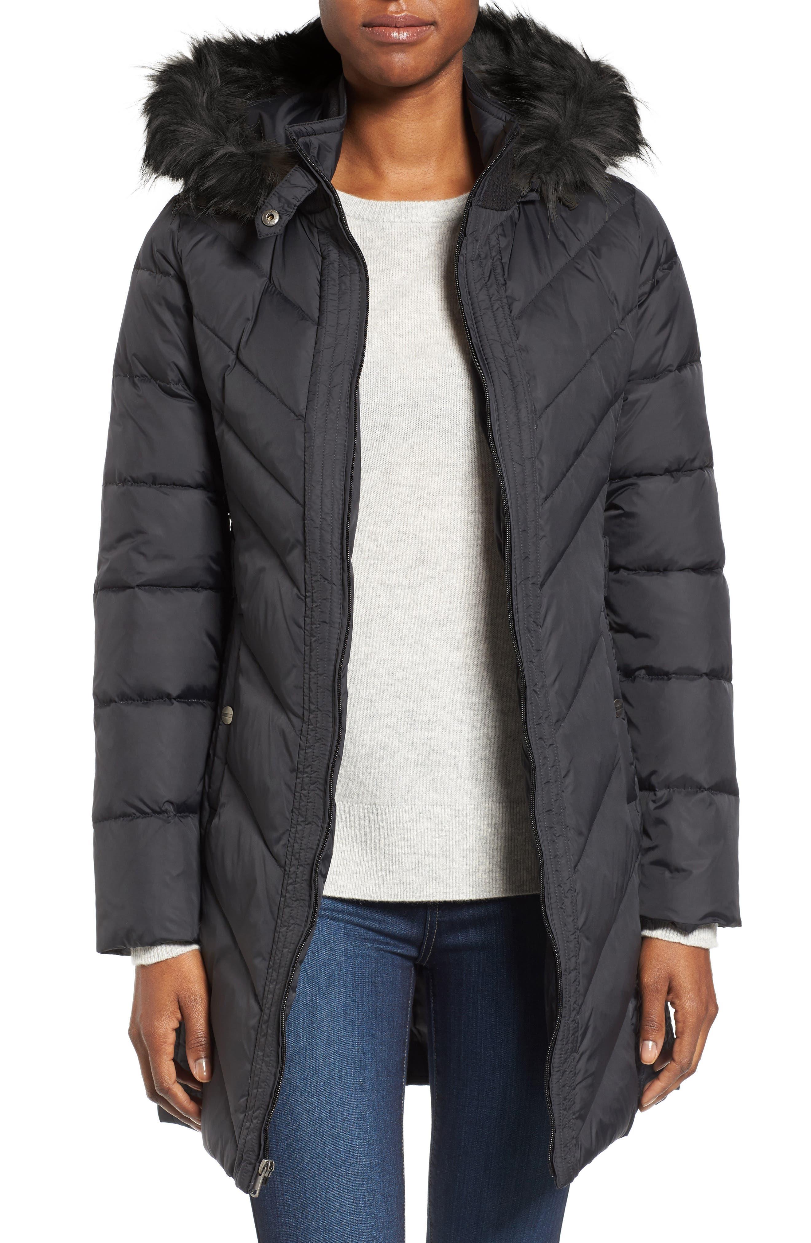 Faux Fur Trim Hooded Jacket,                             Main thumbnail 1, color,                             Black