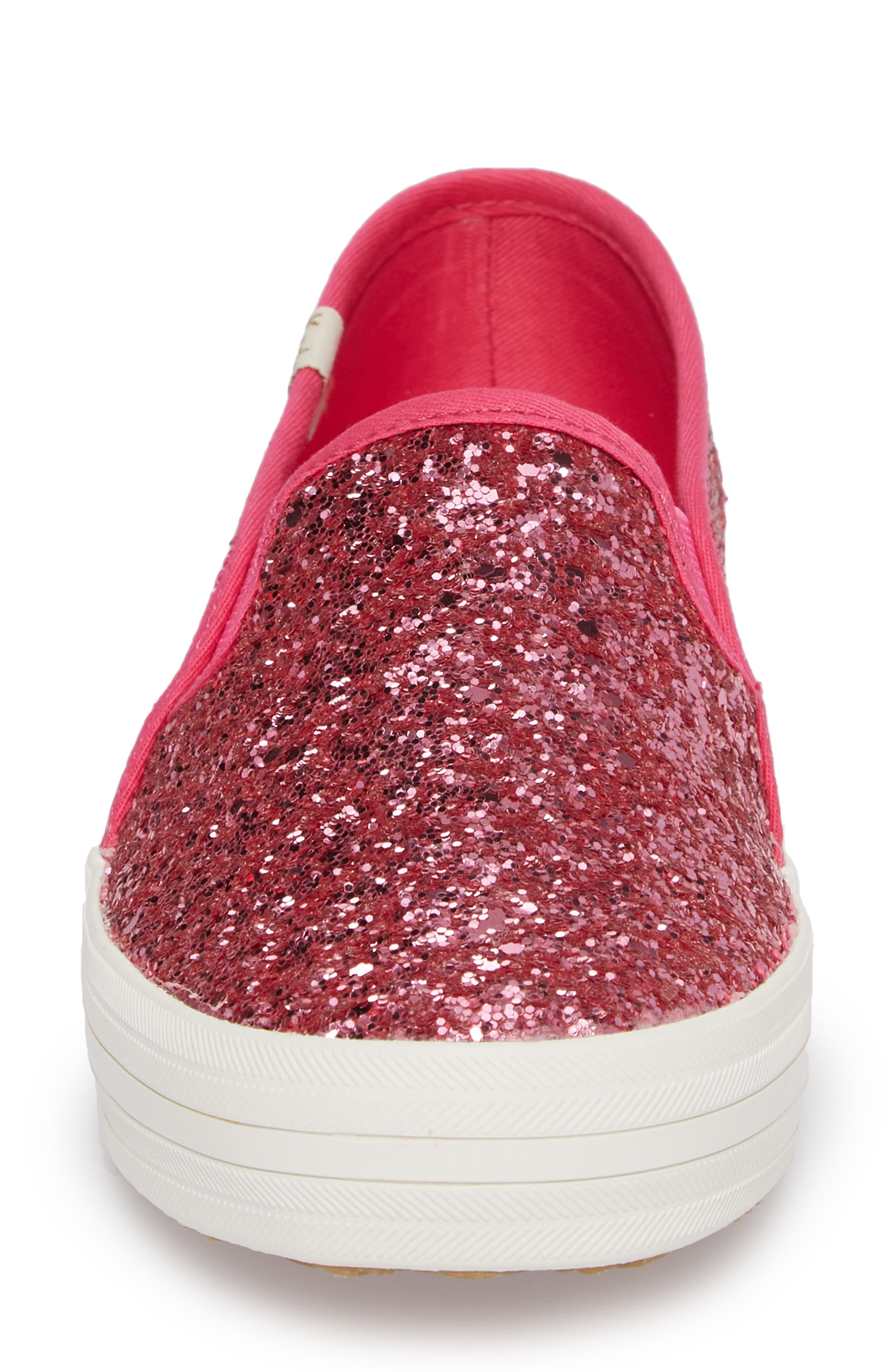 double decker glitter slip-on sneaker,                             Alternate thumbnail 4, color,                             Pink Glitter