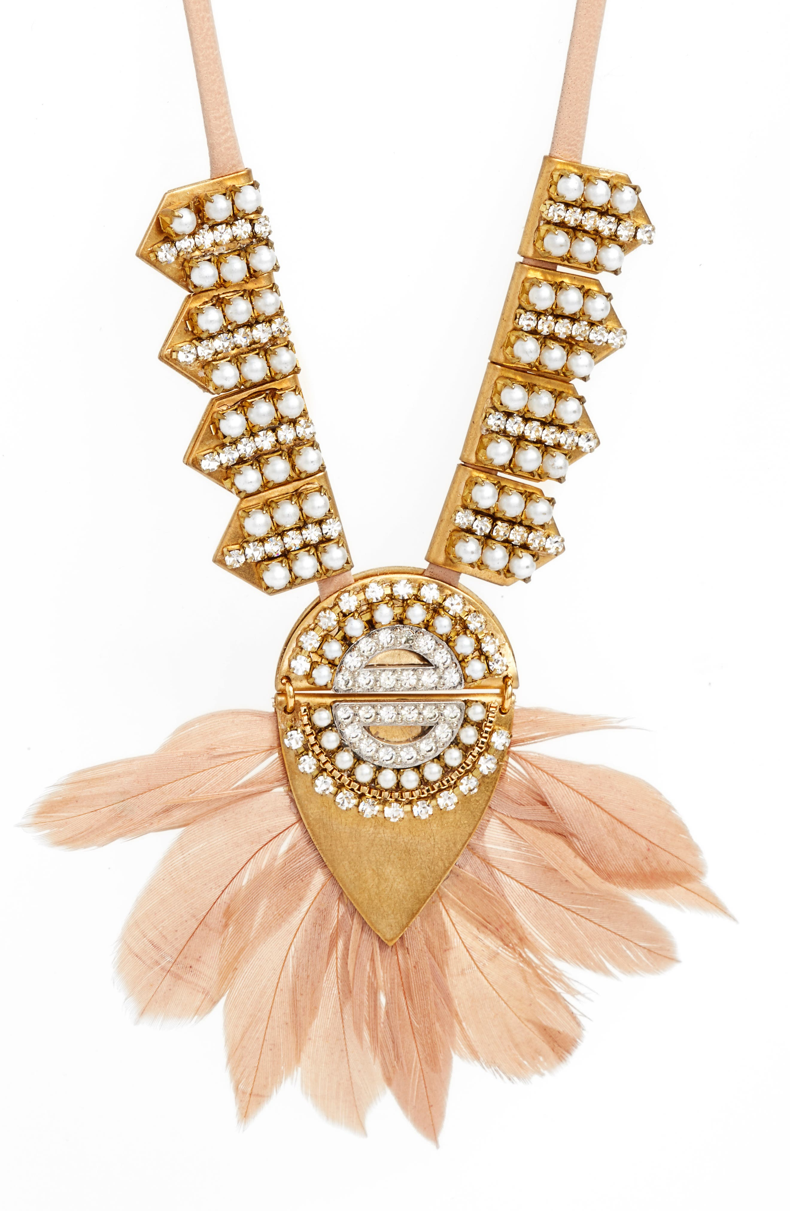 Feather & Imitation Pearl Pendant Necklace,                             Alternate thumbnail 2, color,                             Blush/ Gold