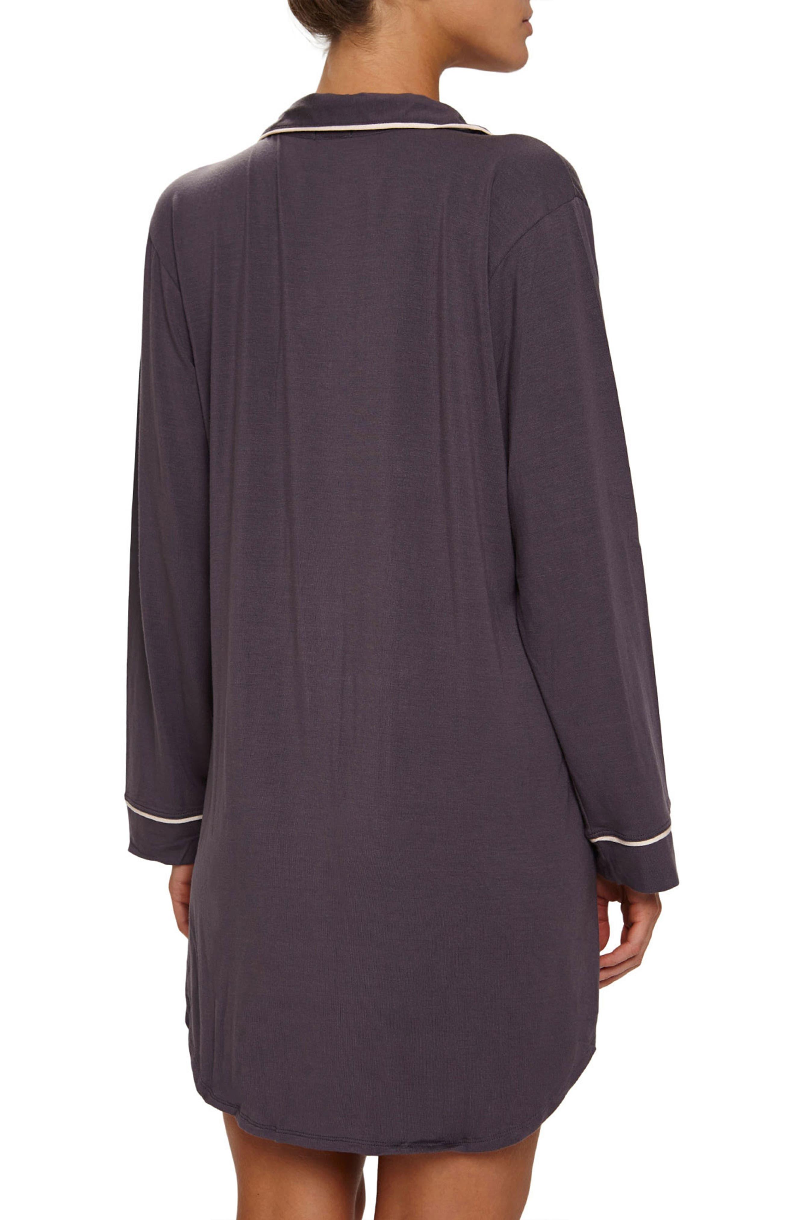 Gisele Stretch Jersey Sleep Shirt,                             Alternate thumbnail 2, color,                             Pebble