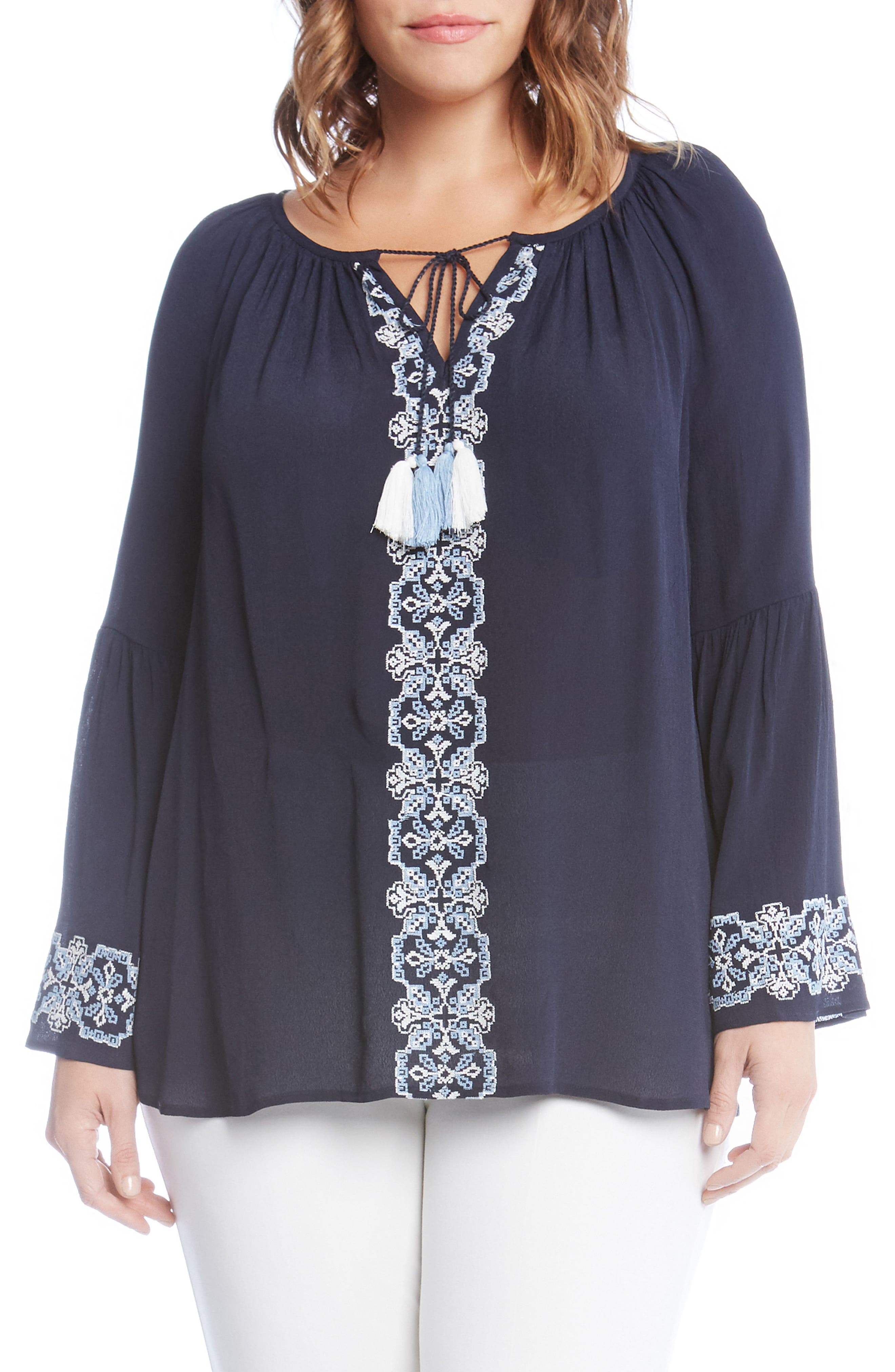 Double Tassel Embroidered Top,                             Main thumbnail 1, color,                             Navy