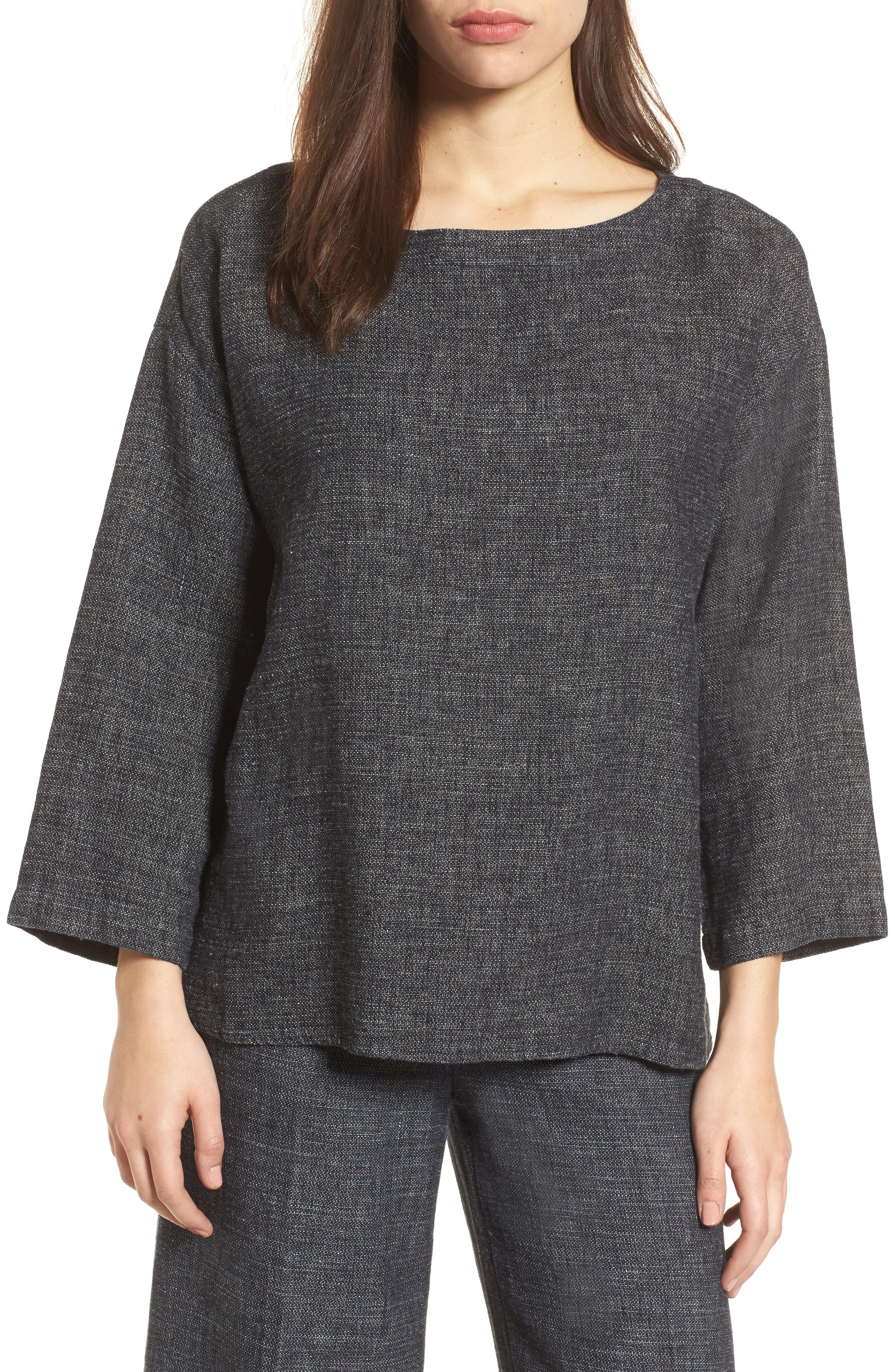 Alternate Image 1 Selected - Eileen Fisher Boxy Hemp & Organic Cotton Top