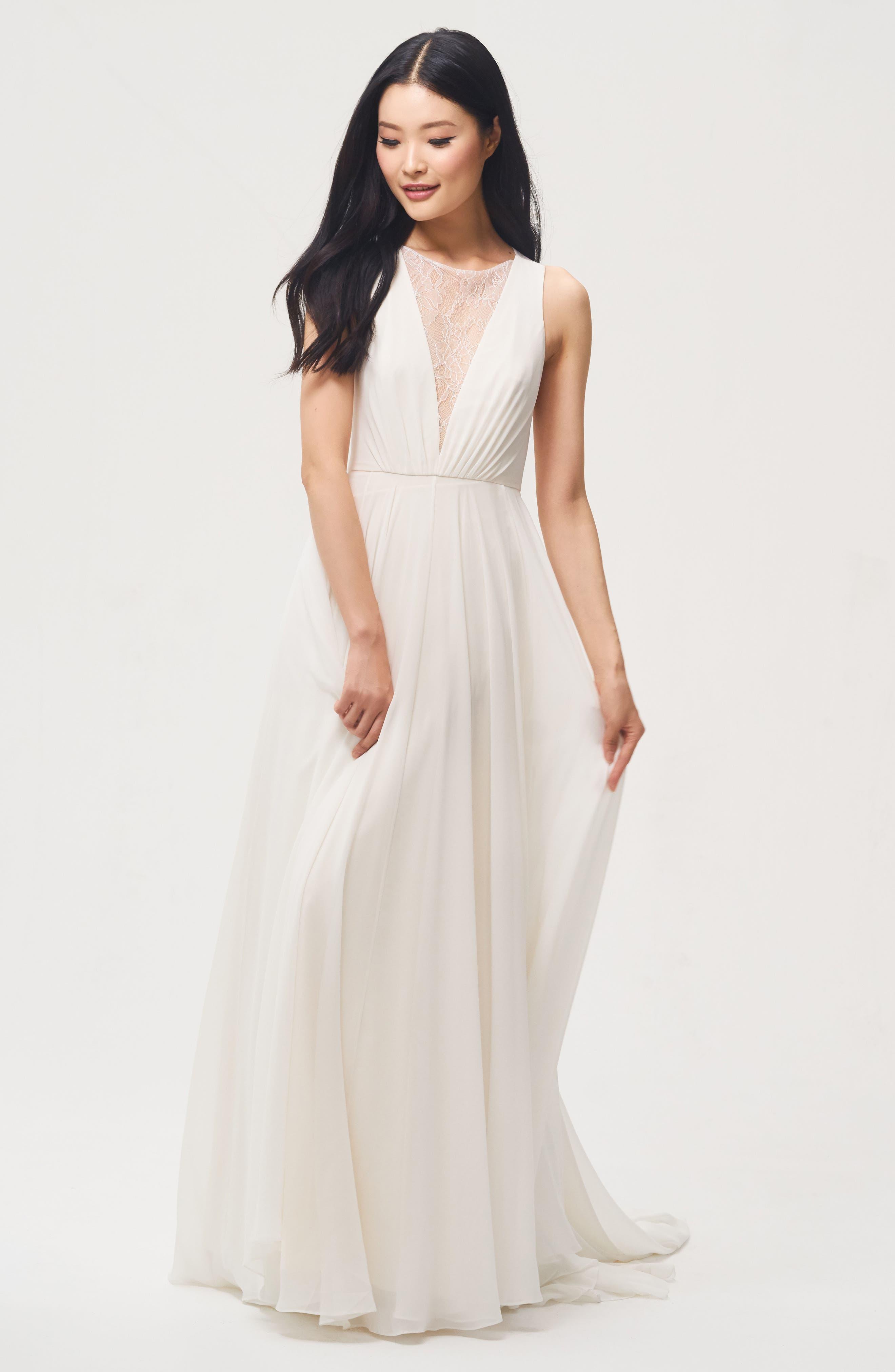 Fallon Lace & Chiffon A-Line Gown,                             Main thumbnail 1, color,                             Ivory